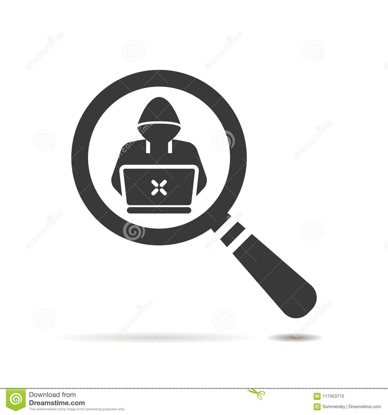 Flat Search Icon With Software Engineer Symbol On Whit Stock Vector