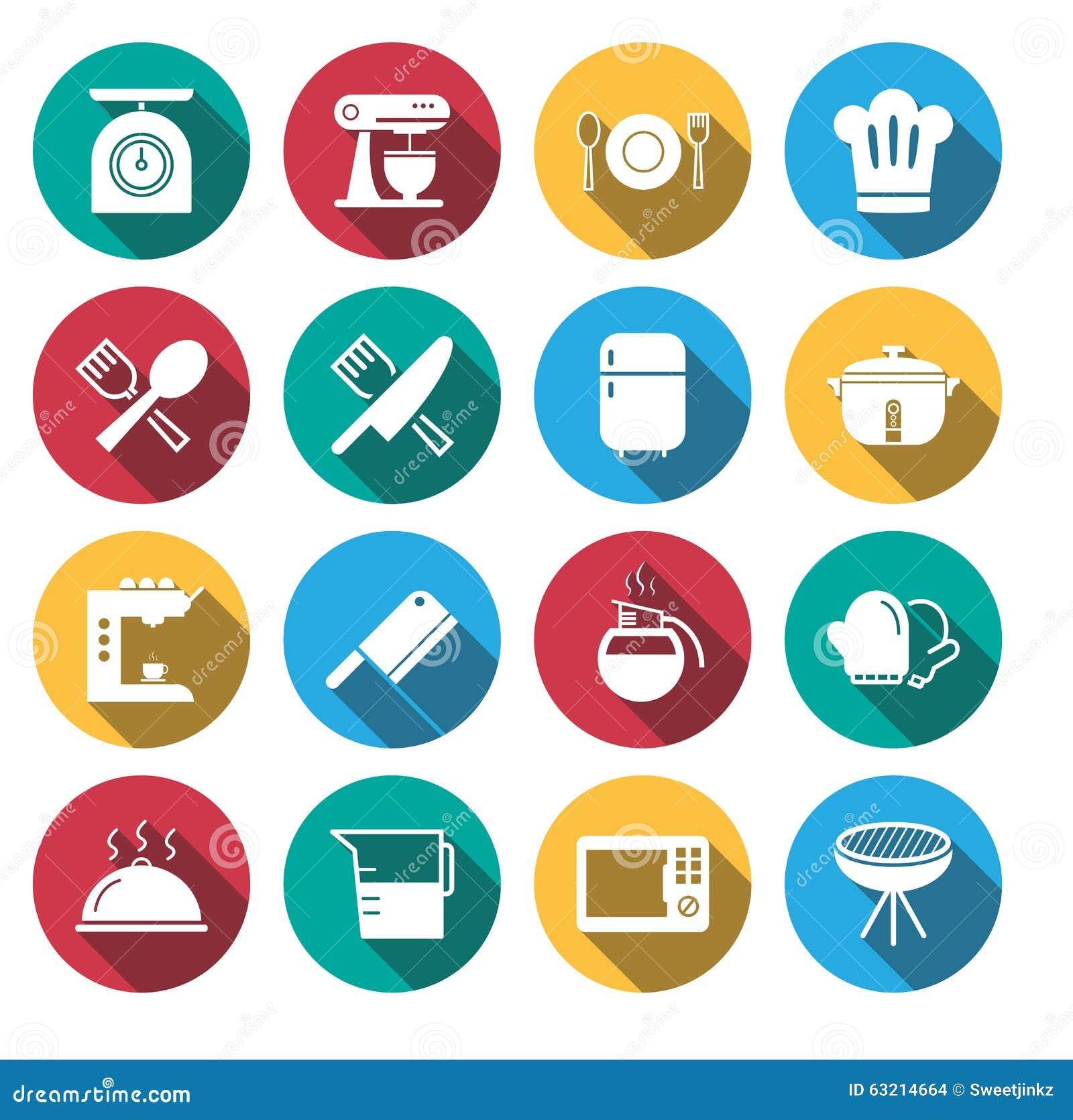 Flat Shadow Kitchen Tools Icon Set. Stock Vector - Illustration of ...