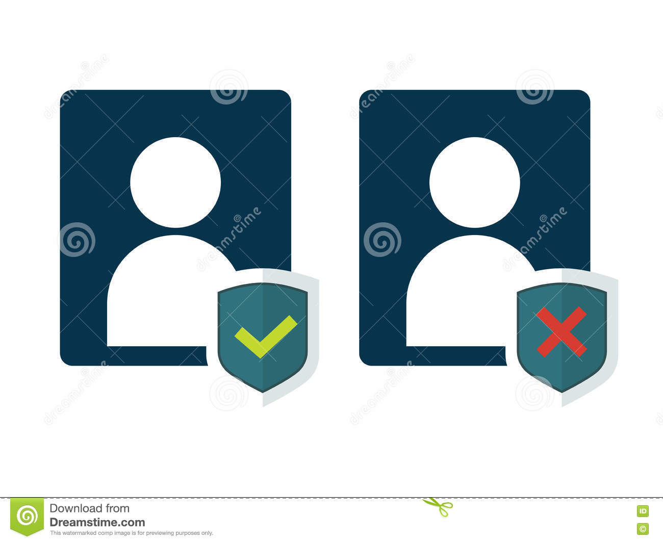 Flat Shield With Person Silhouette Symbol And Status Stock Vector