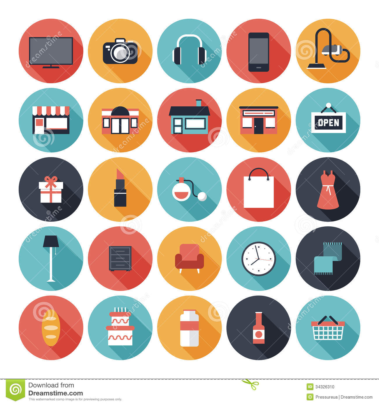Flat shopping icons set stock vector. Image of elements ...
