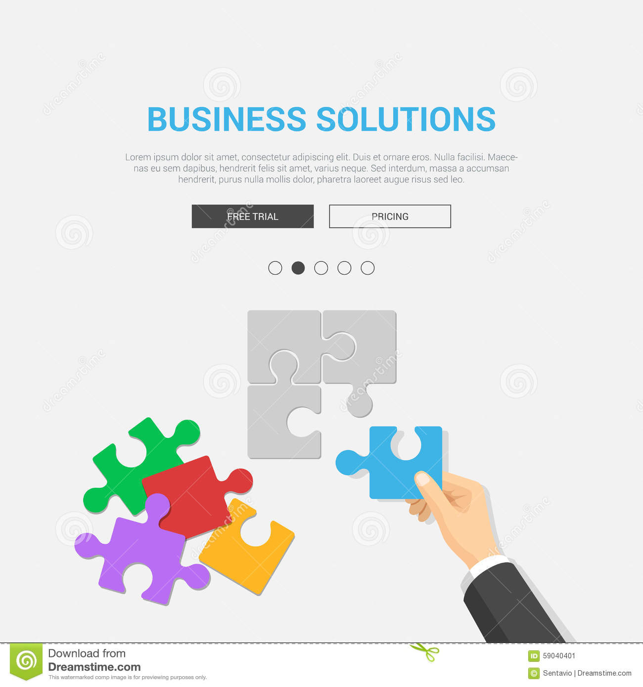 The Best Design Solutions: Flat Showcase Mockup Template For Business Solutions Stock