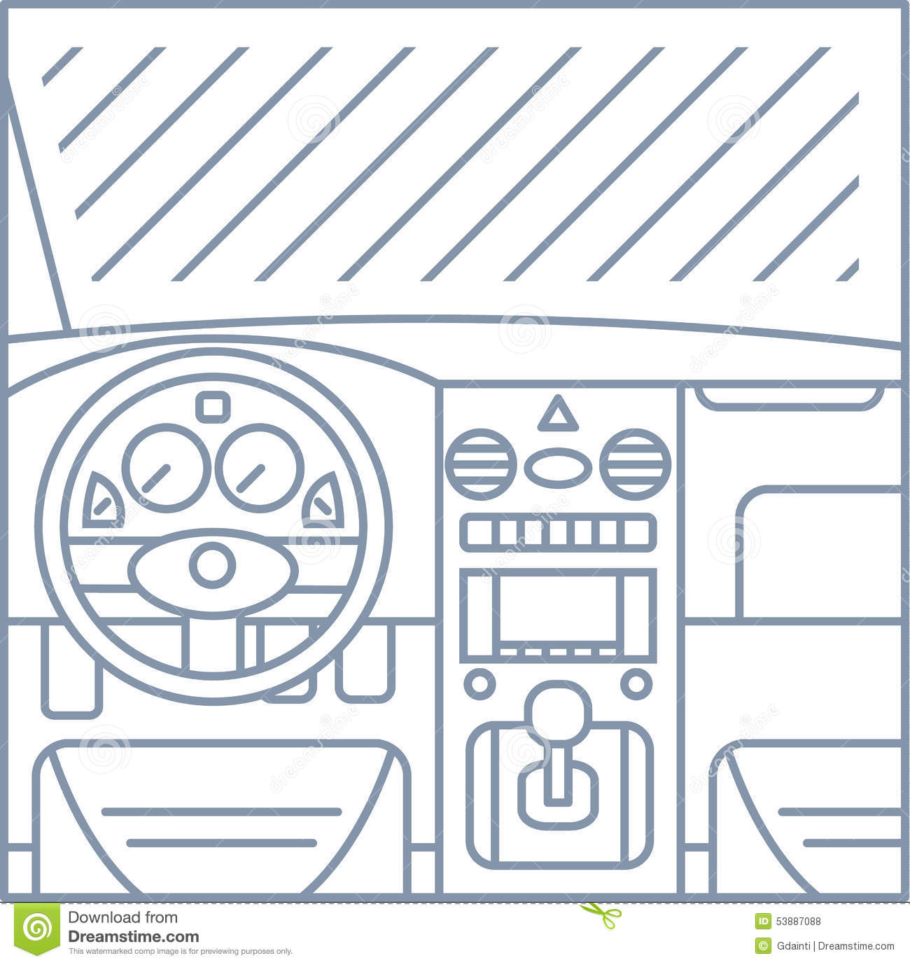 Drawing Vector Lines In Photo : Flat simple line illustration of car interior view stock