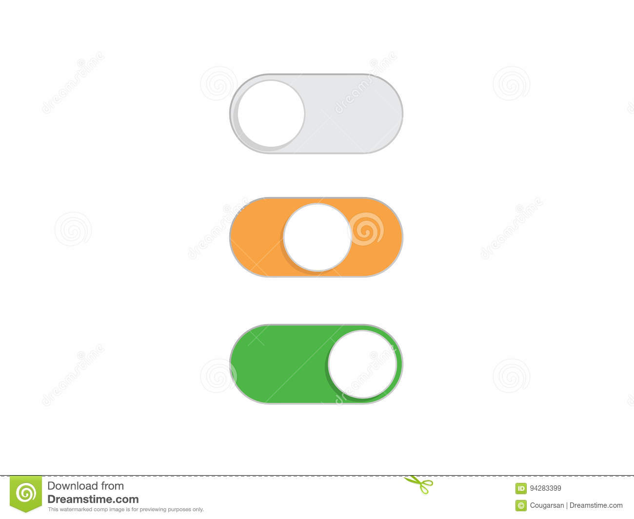 Flat Simple On Off Toggle Switch Button Vector Stock Vector ...