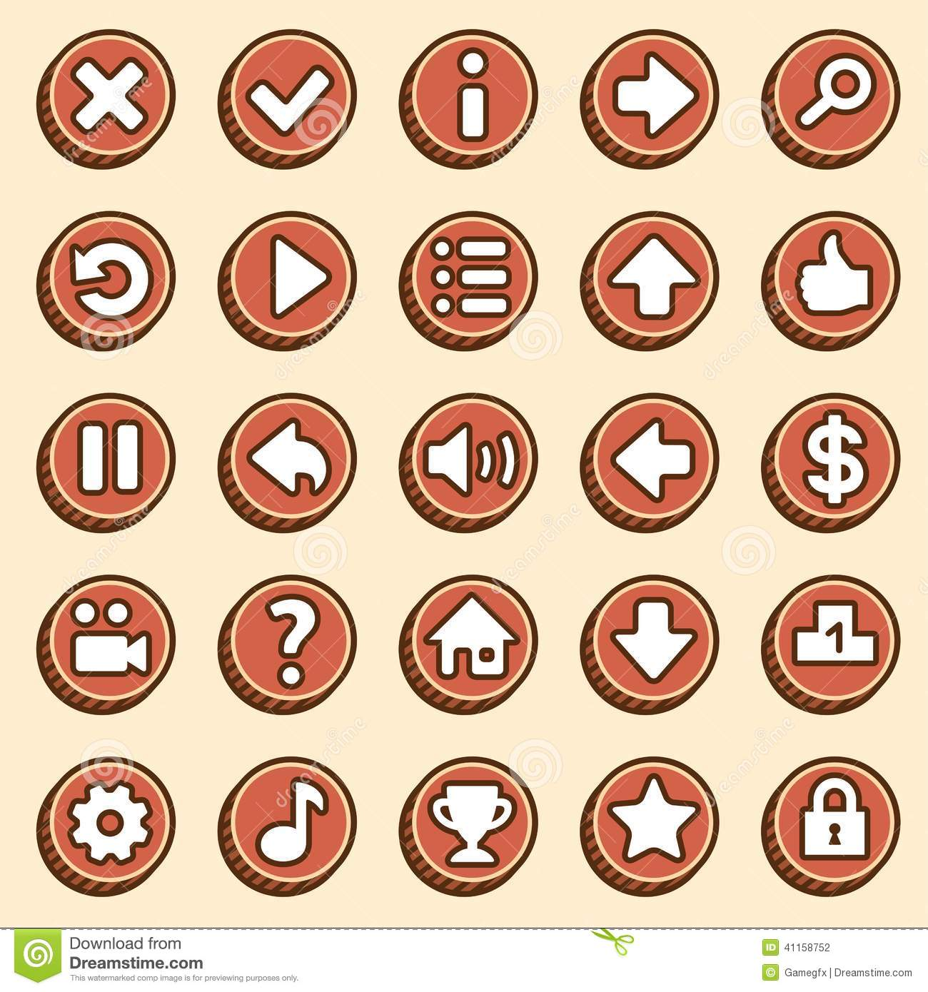 Flat And Simple Video Game Buttons Stock Vector - Image ...