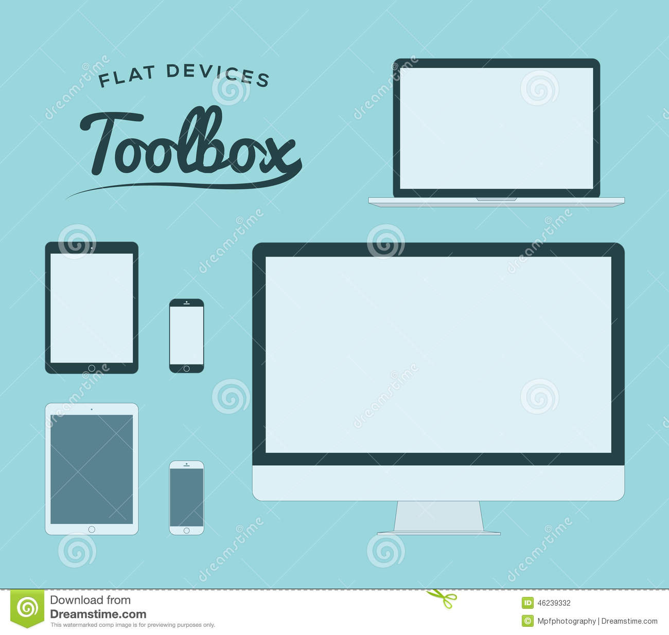 Flat Smartphone, Tablet, Computer And Laptop Vector Devices