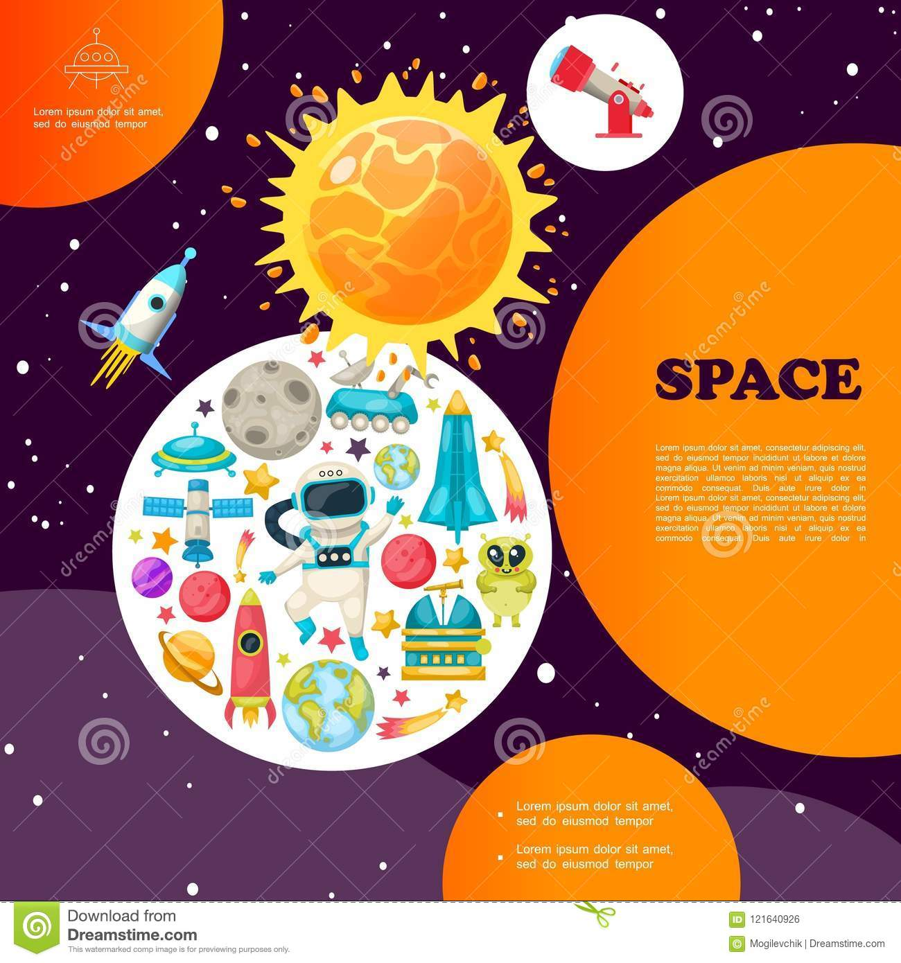 flat space colorful template stock vector illustration of planet