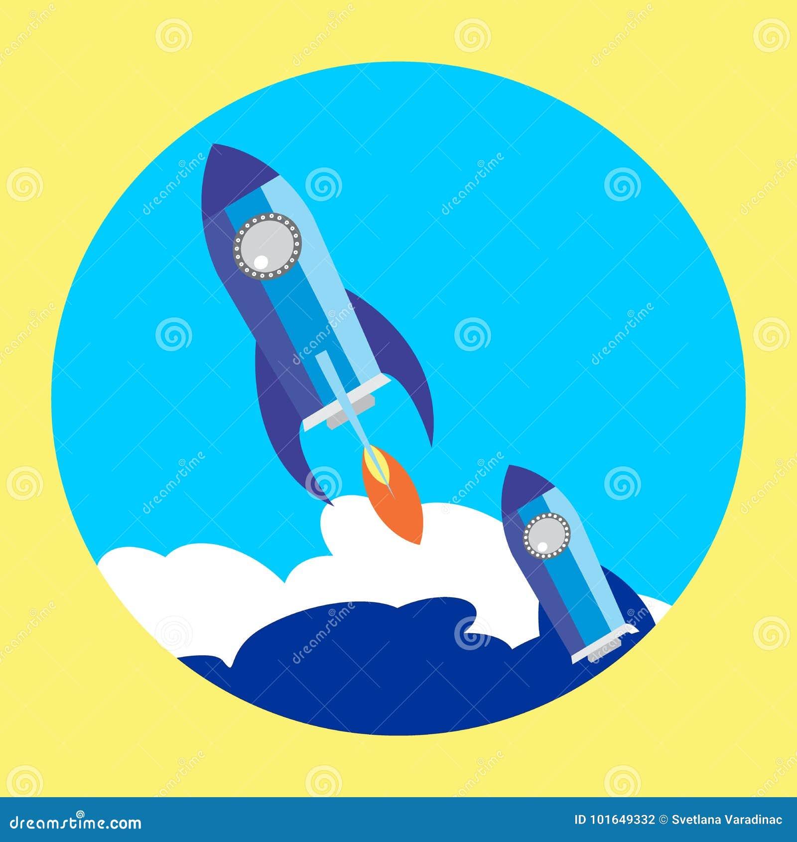 Flat Space Shuttle Rocket Circle Icon
