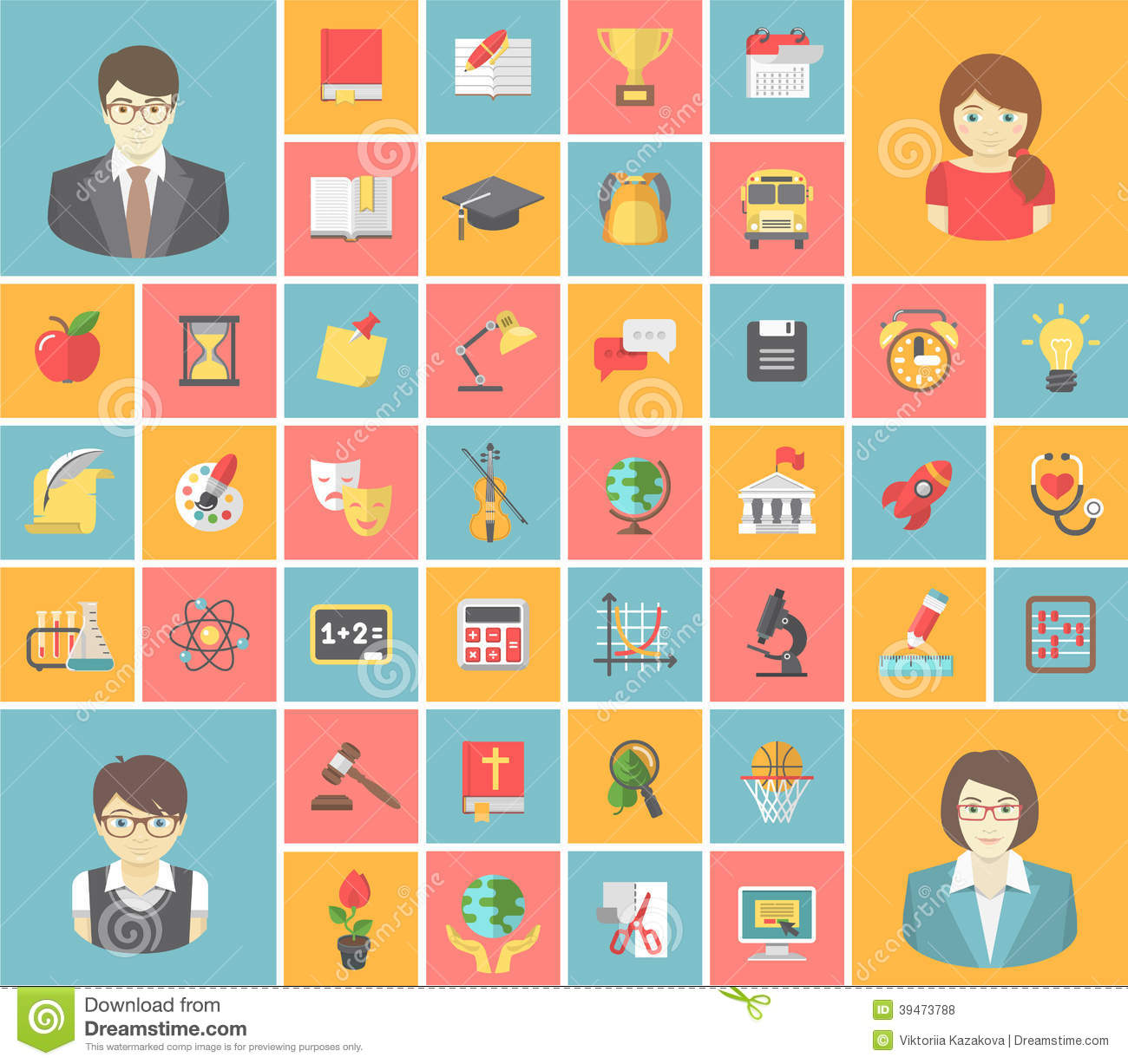 Flat Square School Icons Stock Vector - Image: 39473788