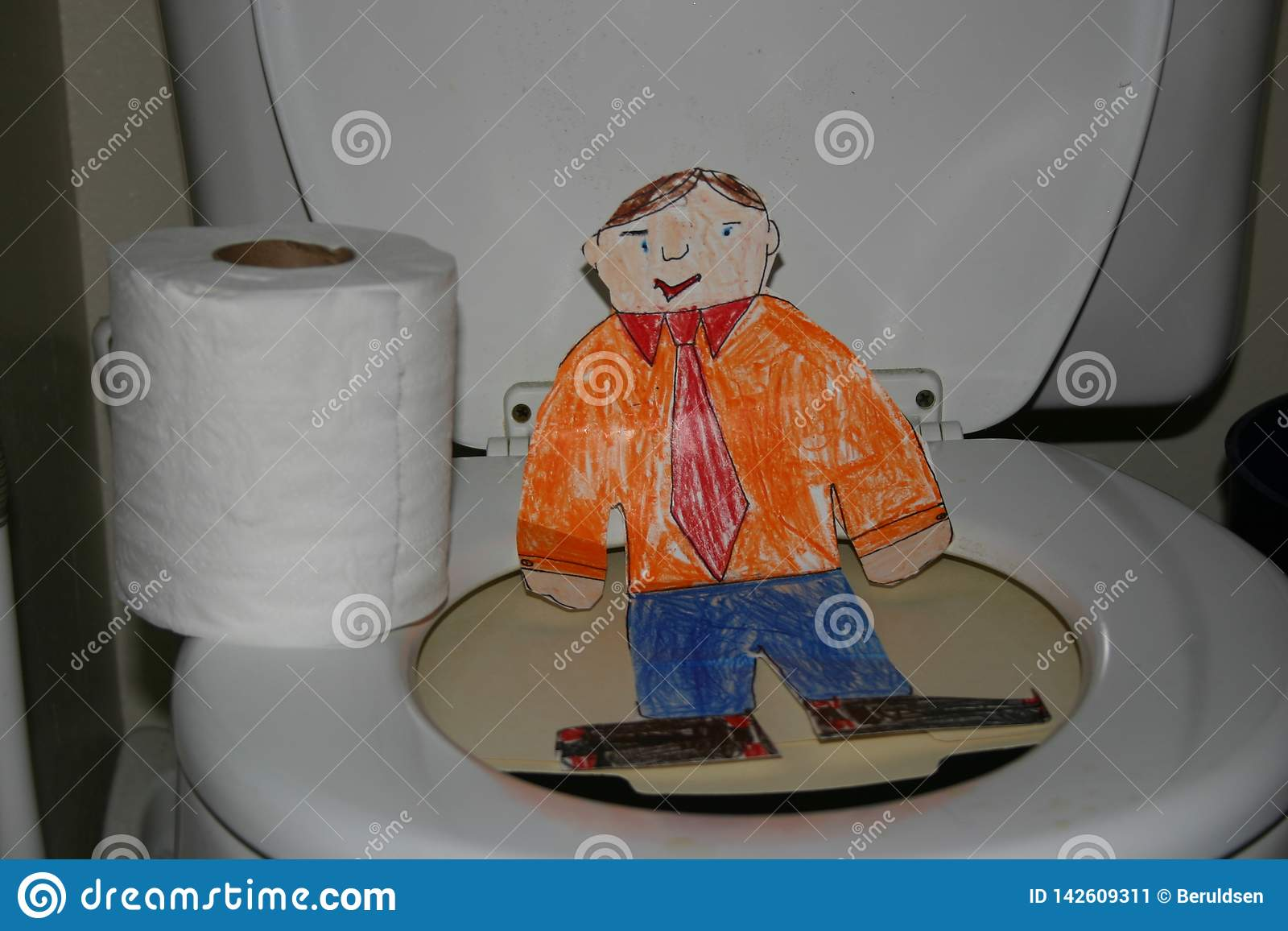 Flat Stanley on the Toilet