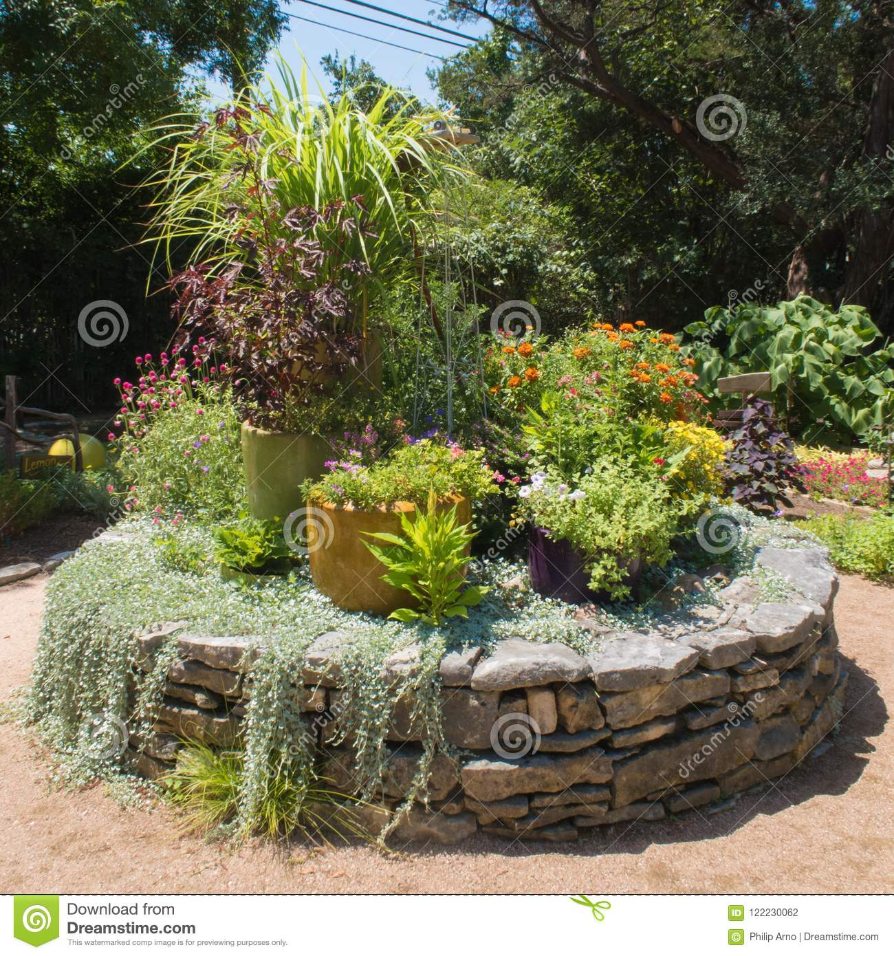 Flat Stones Used To Create A Flower Bed Stock Photo Image Of