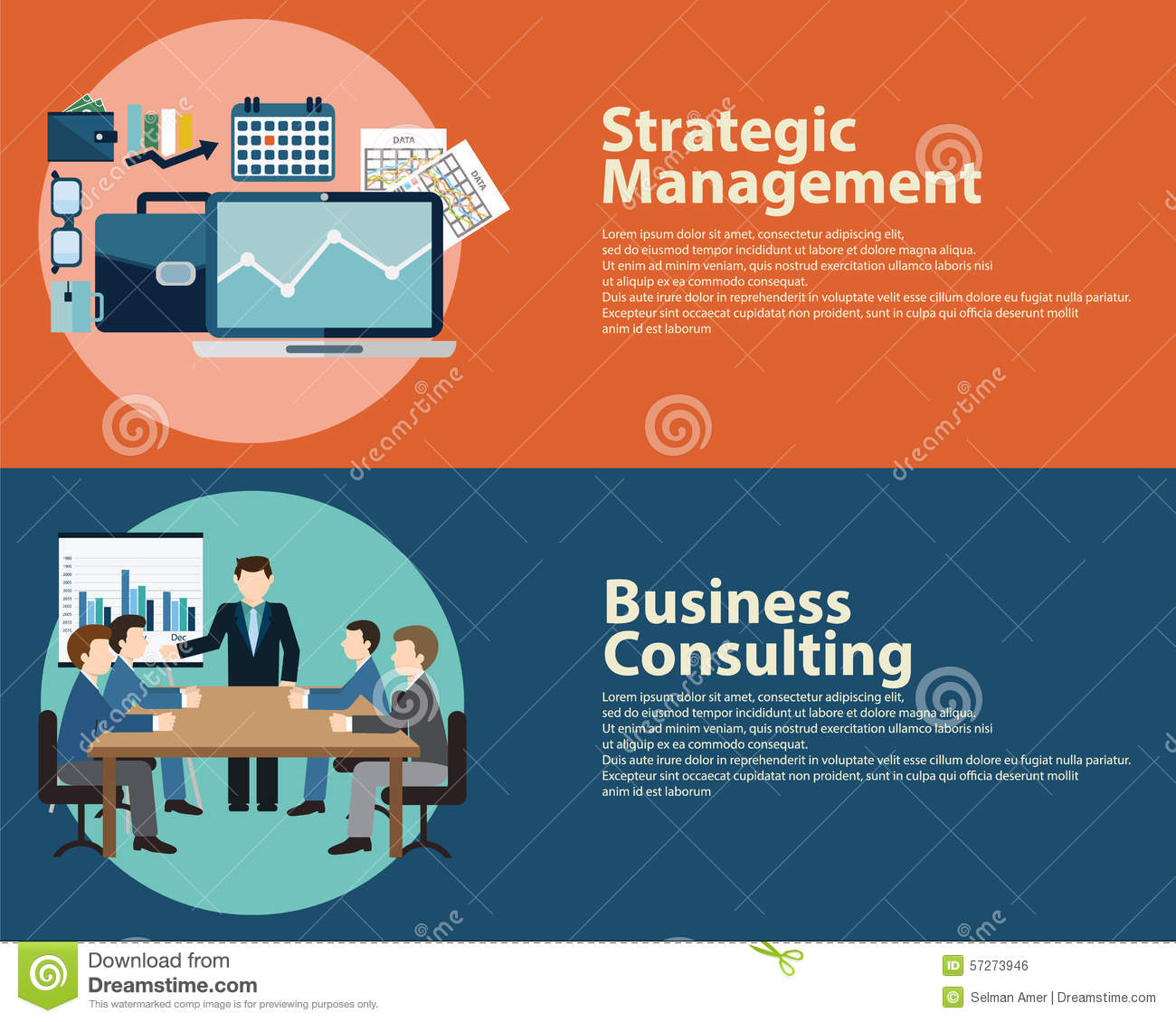Business Management Consulting : Flat style business success strategy management concept