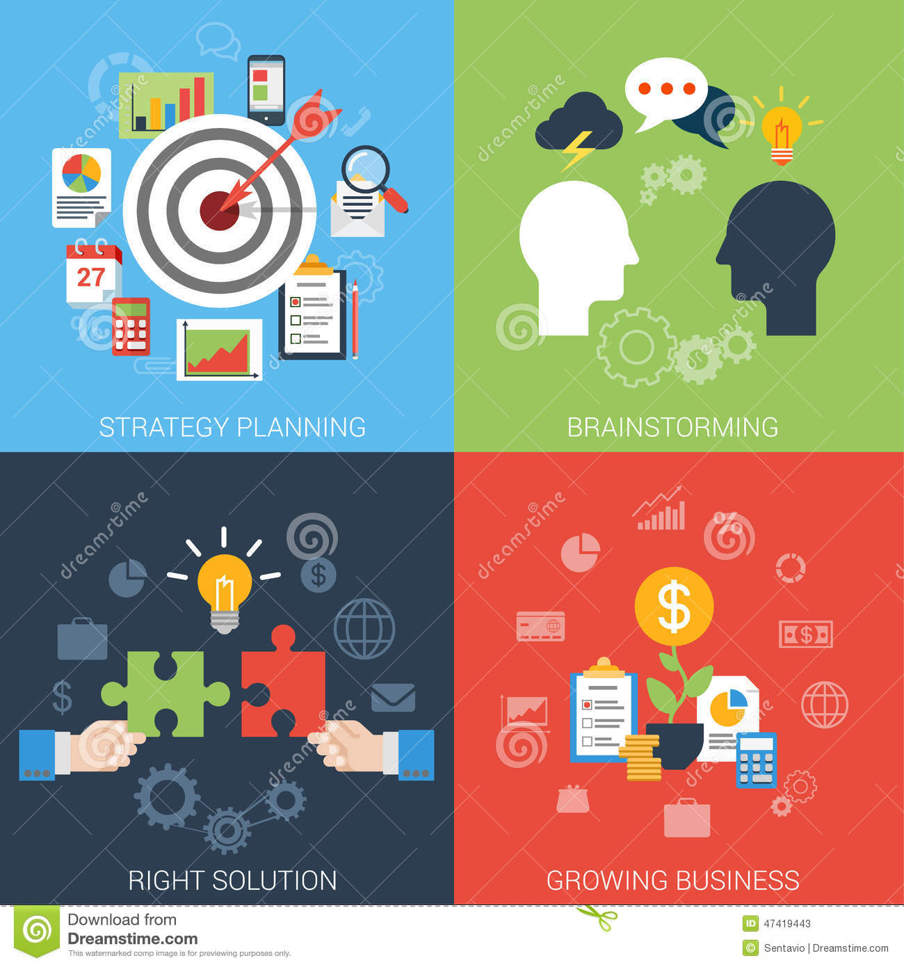 Flat Style Business Success Strategy Target Infographic