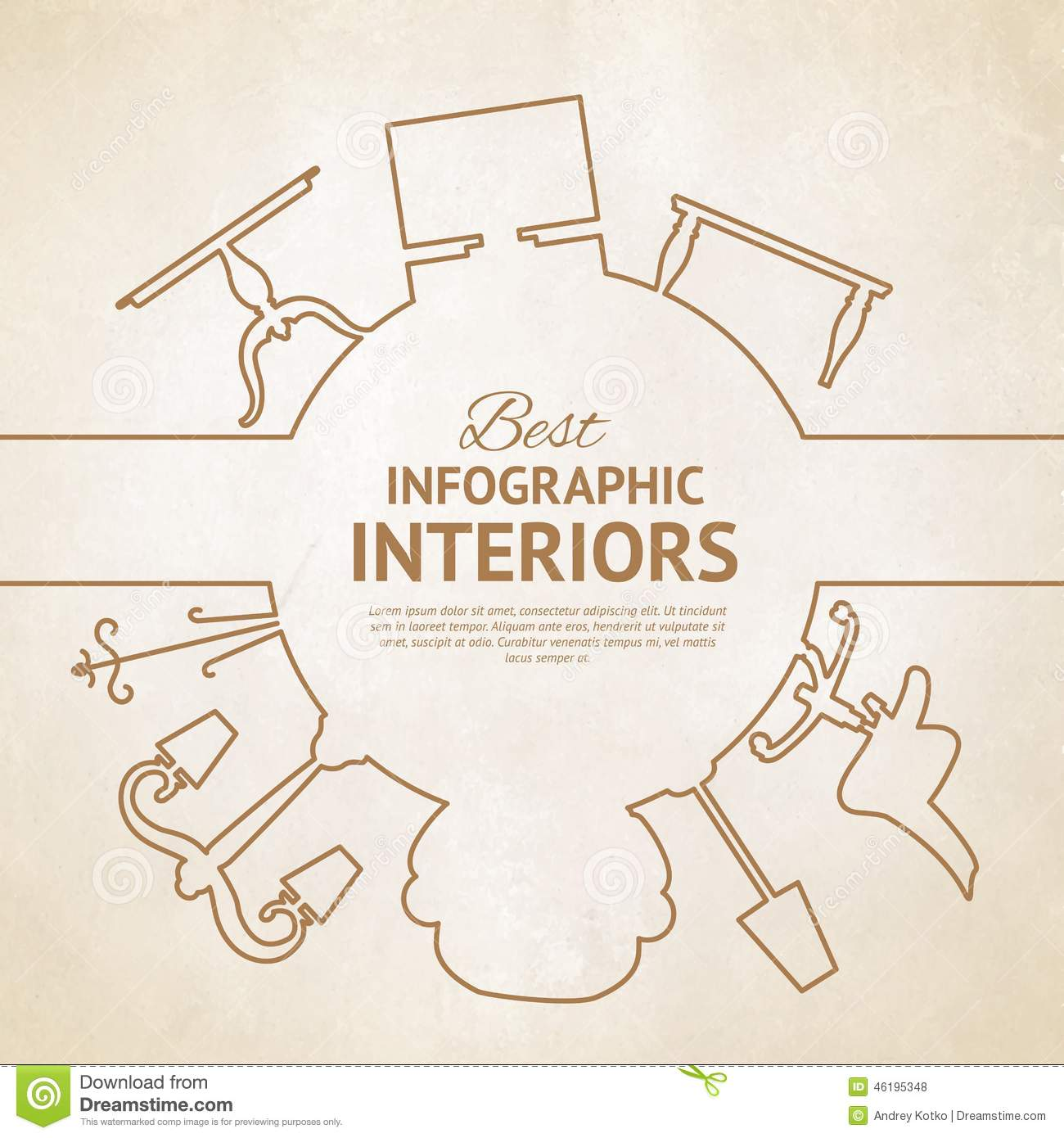 Interior Design Elements Line Style Infographics With Interior Design Elementsvector .