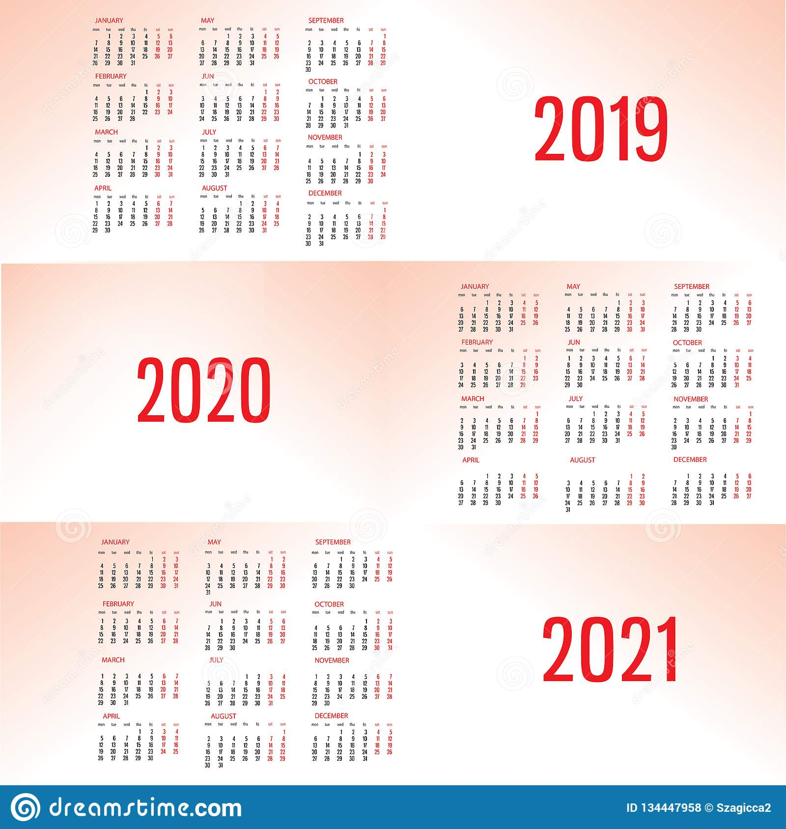 Simple Calendar template for 2019, 2020 and 2021. Week starts from Monday.