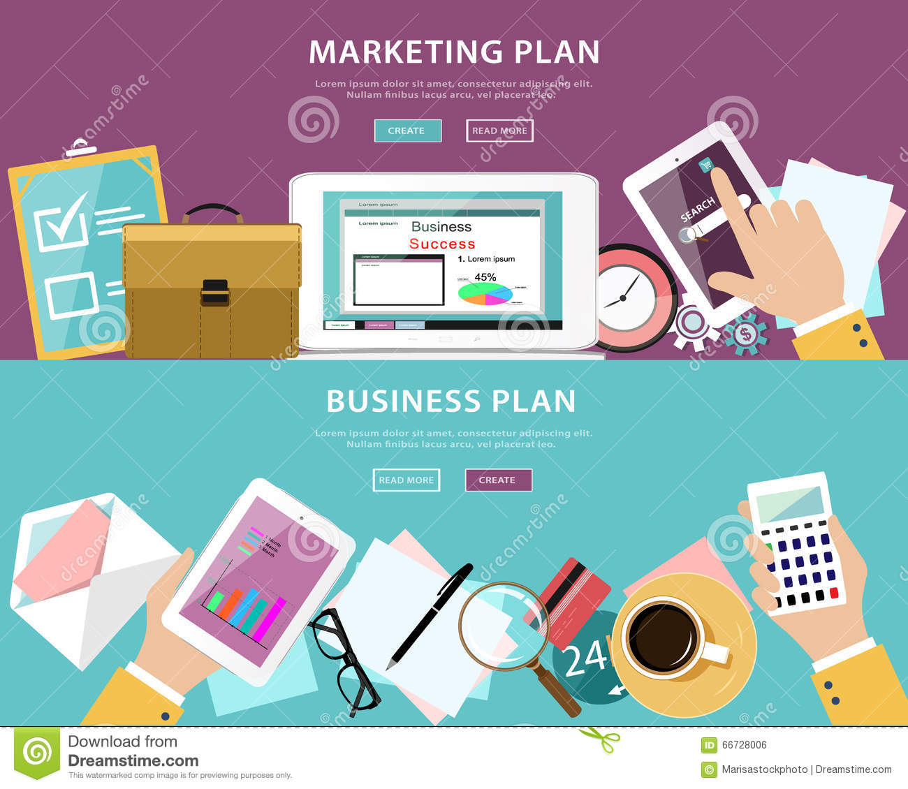 Flat style concept set of business plan and marketing plan - Business plan for web design company ...