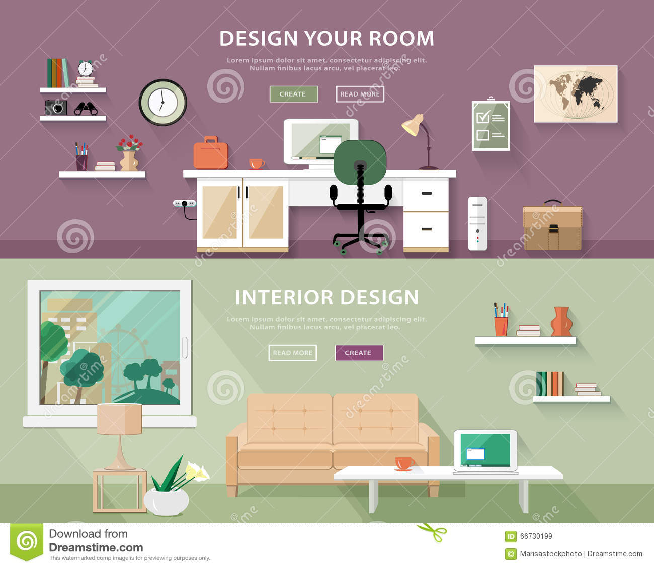 Elegant Flat Style Concept Set Of Interior Design Room Types. Web Banner.