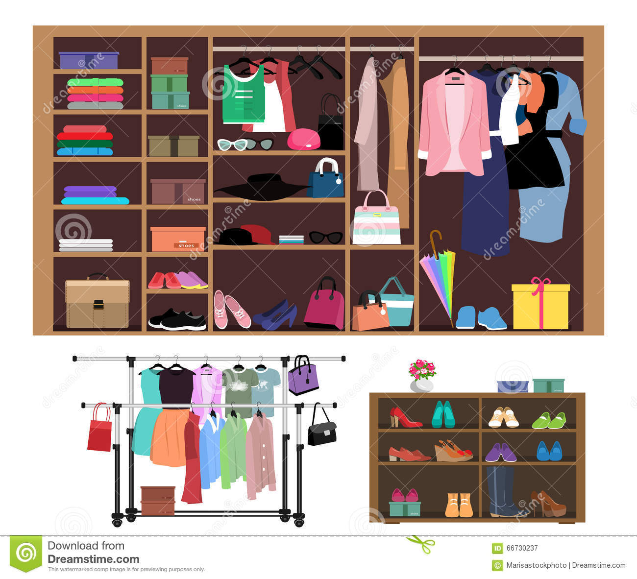 Flat style concept of wardrobe for women. Stylish closet with women s fashion, clothes, shoes and bags.