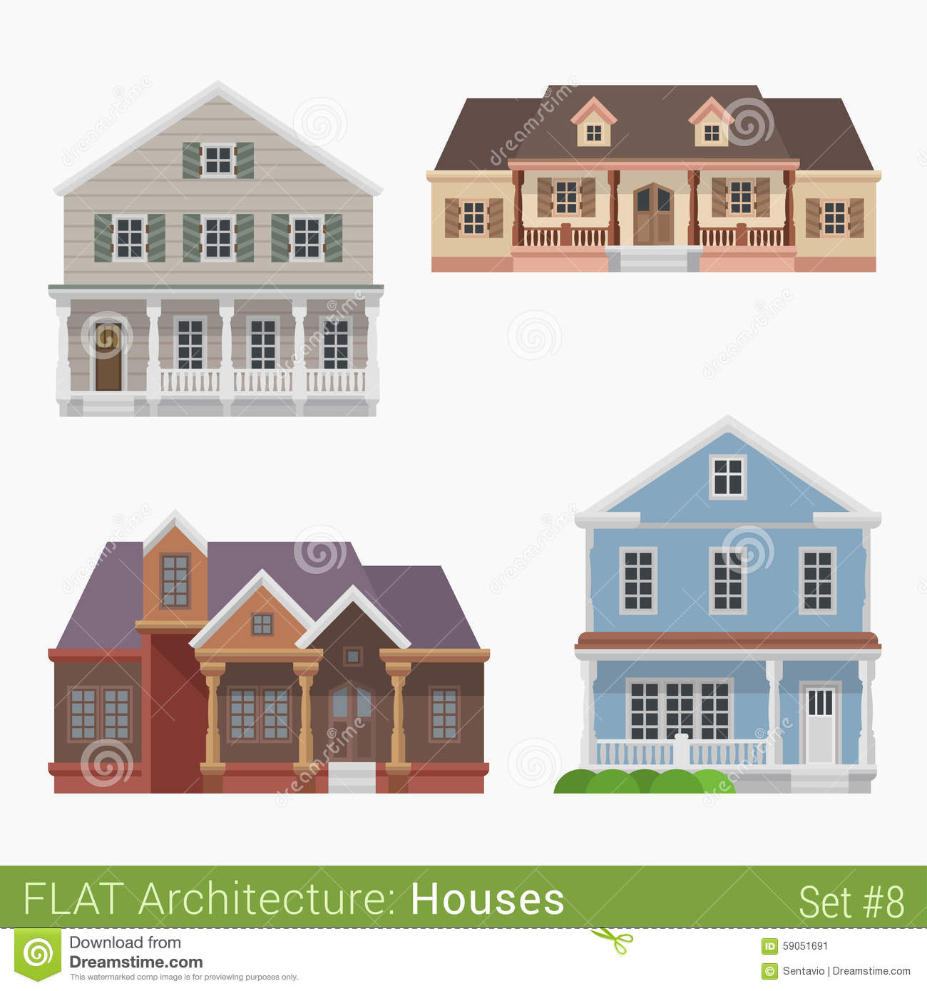 Flat style countryside cottage vector set stock vector for Home design elements