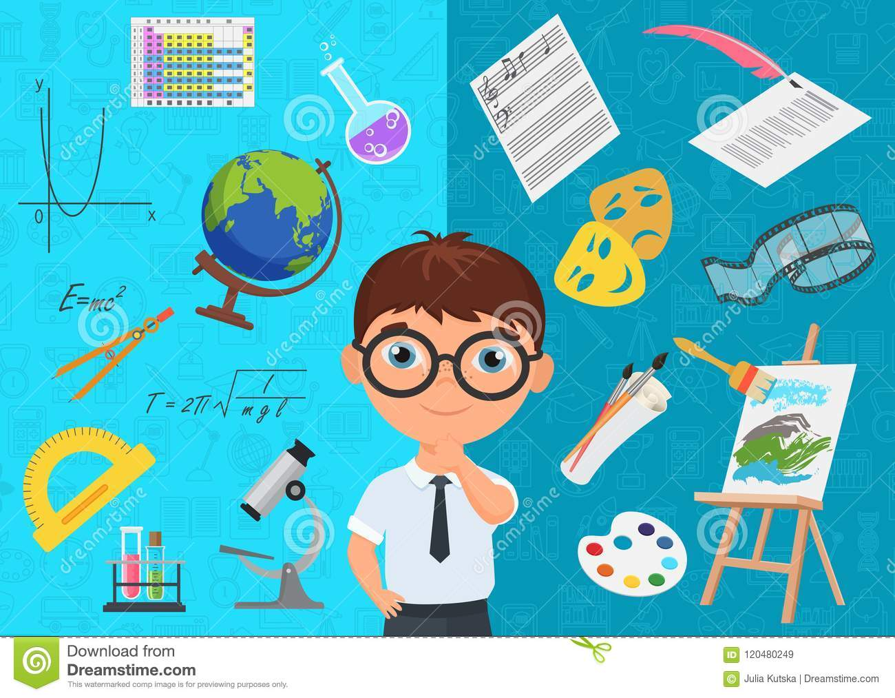 Flat style of diligent schoolboy character in glasses surrounded with various icons of school subjects on blue