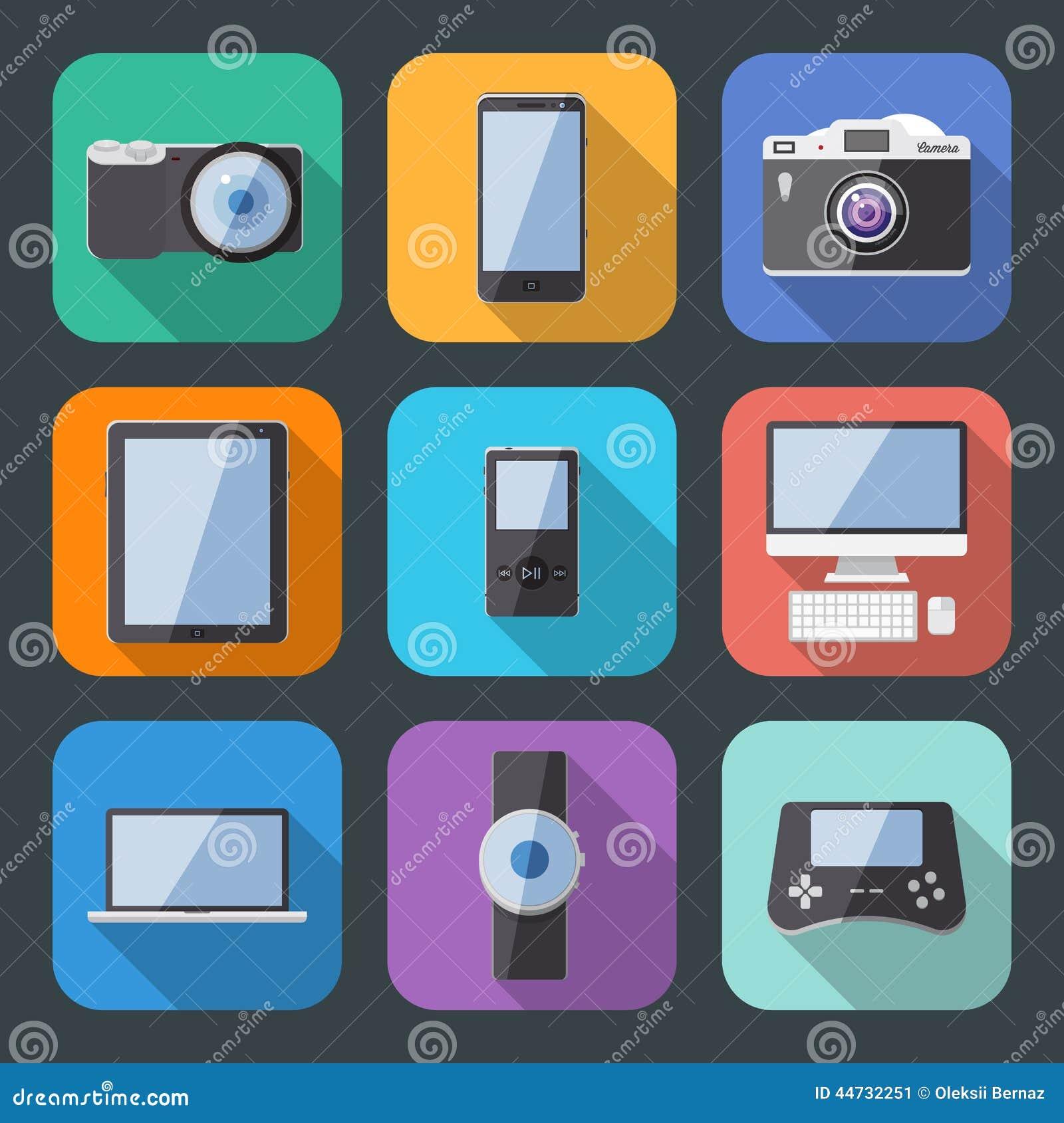 Flat Style Electronics Gadget Vector Icon Set Stock Vector ...