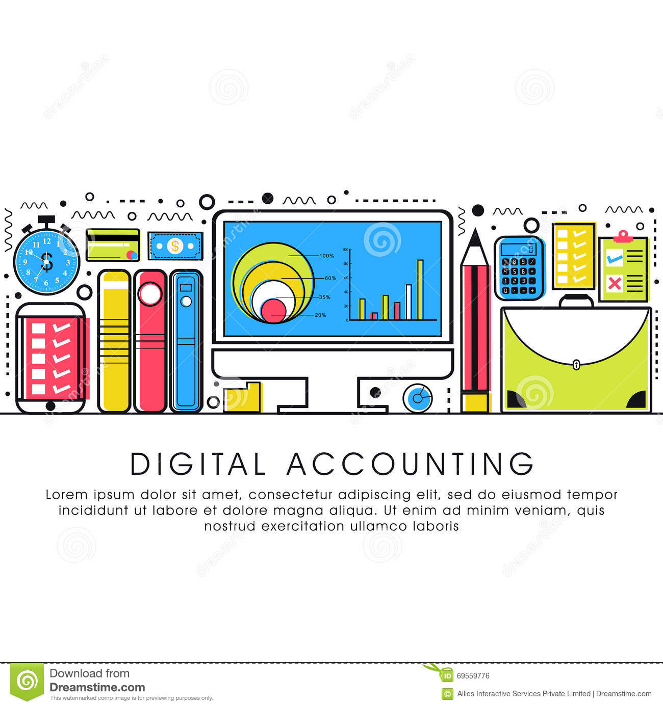 Flat Style Illustration For Digital Accounting Stock