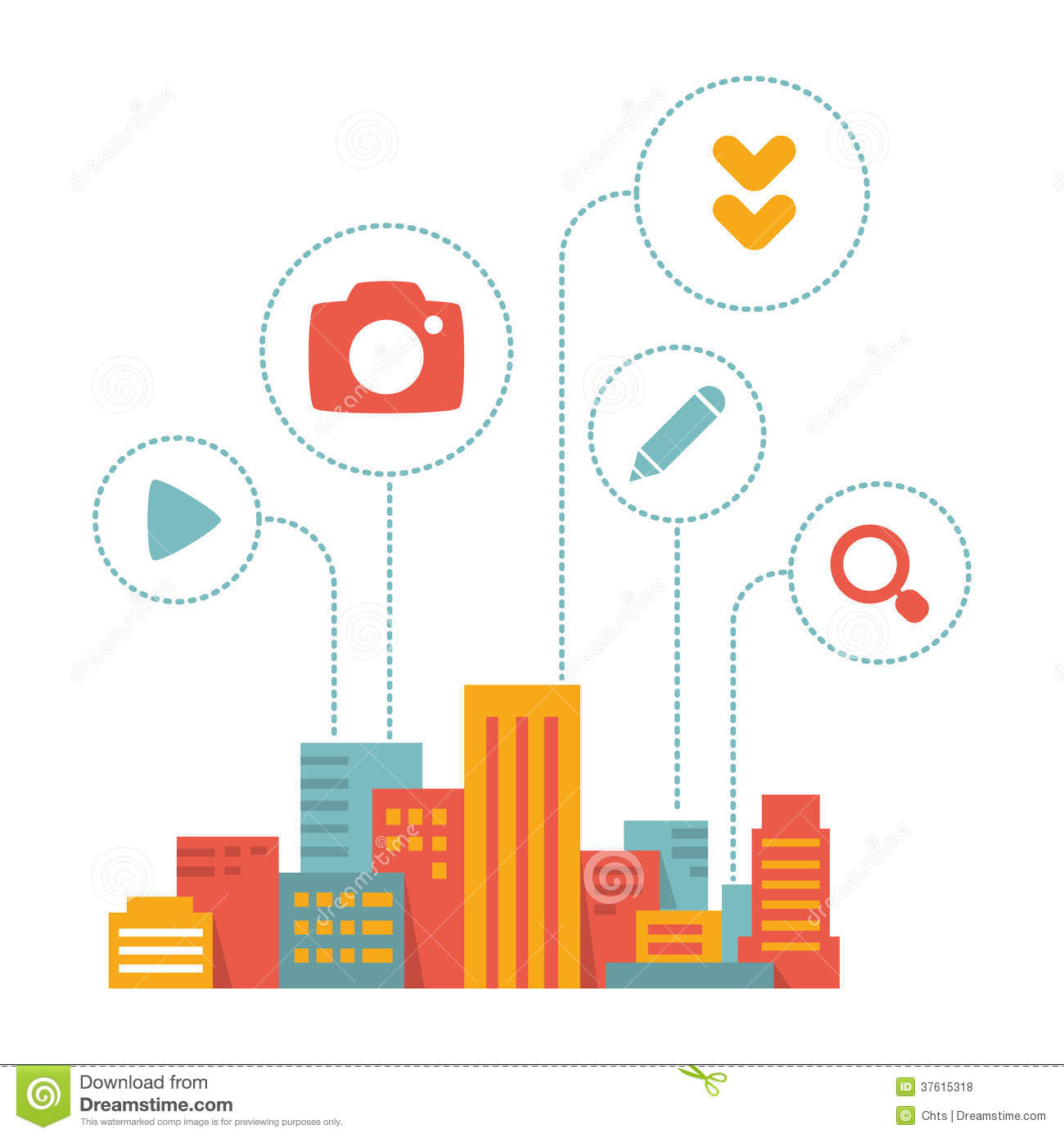 Flat Style Illustration Modern City With Icons Of Royalty