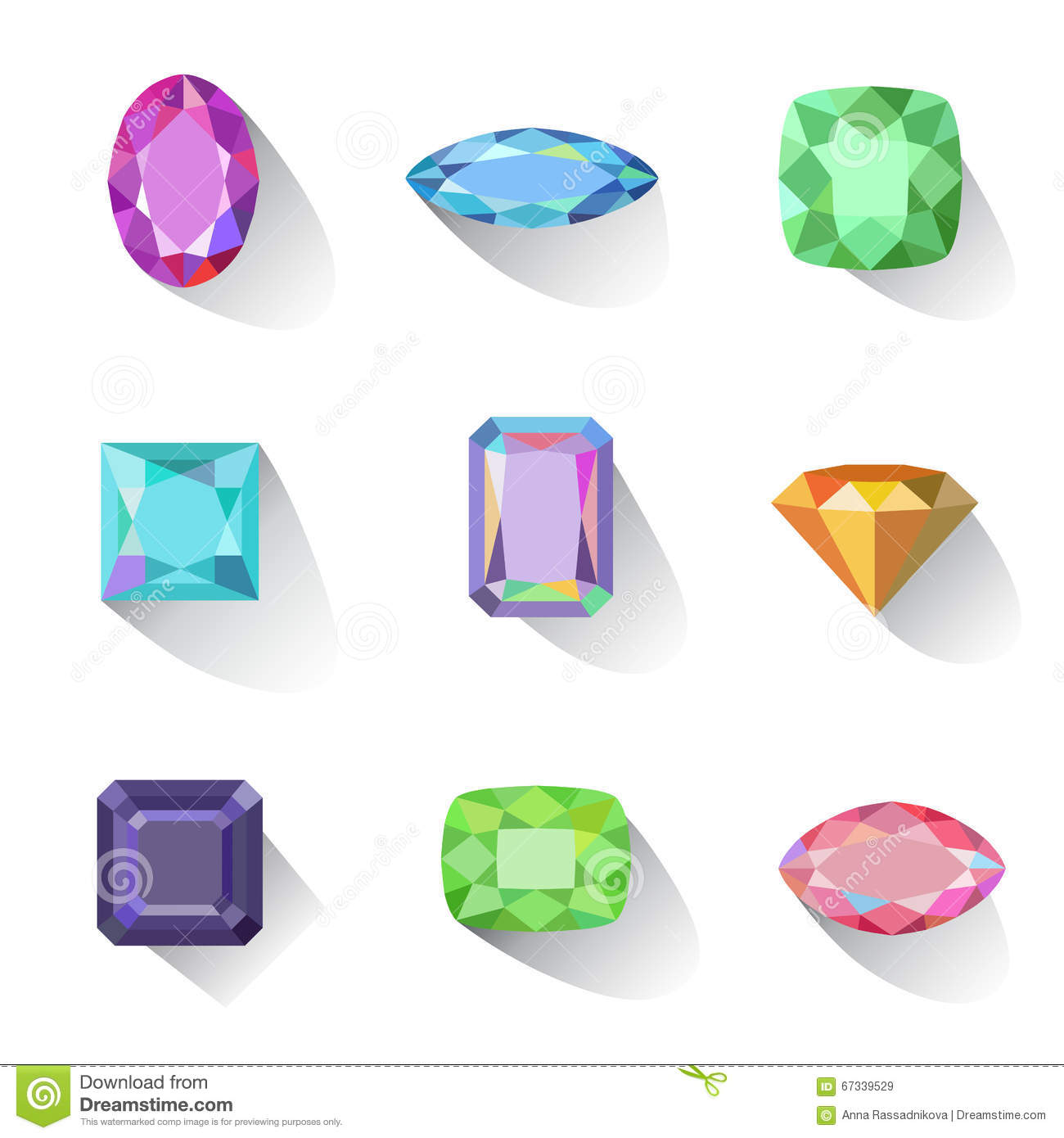 Flat style long shadow colored gems cuts icons