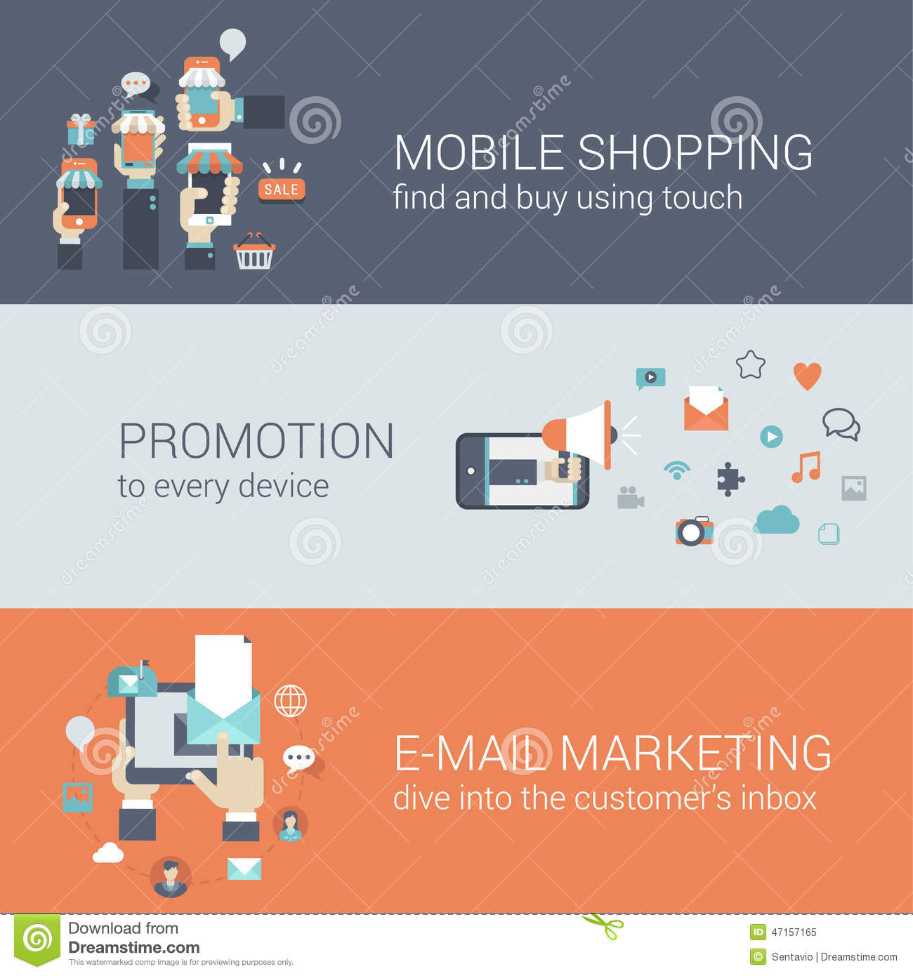 Flat style mobile e commerce promotion infographic concept for E commerce mobili