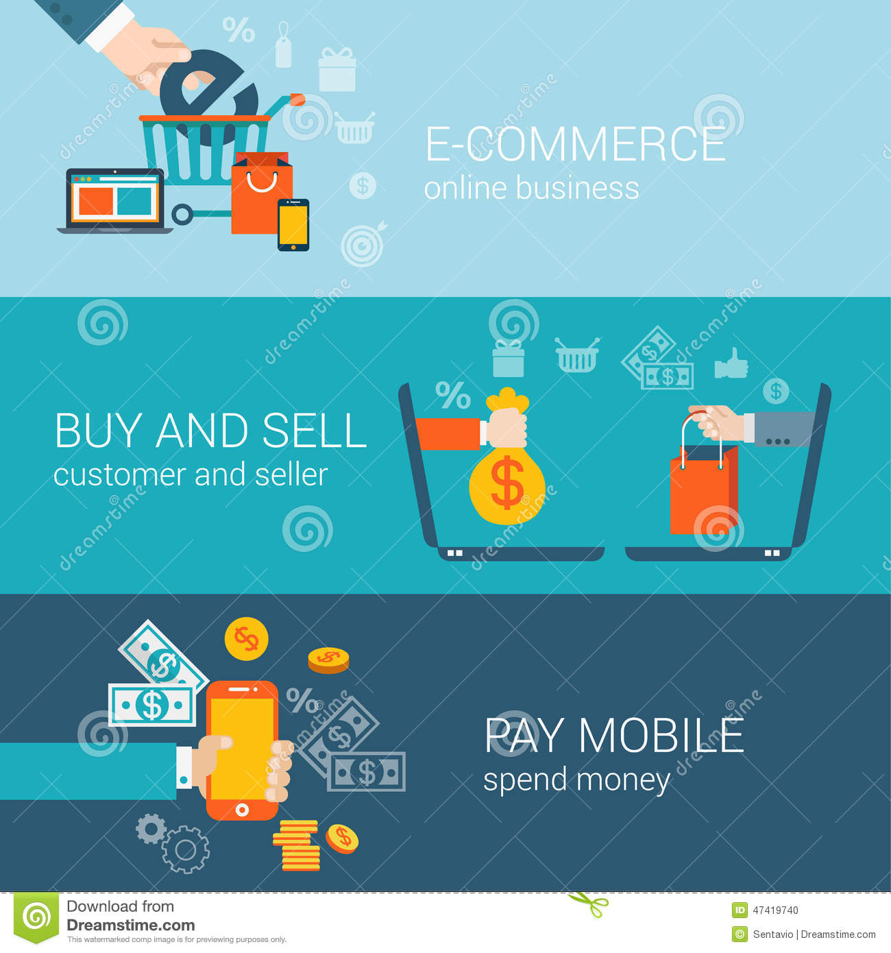 Flat style mobile online e commerce buy pay infographic for Buy and sell online sites
