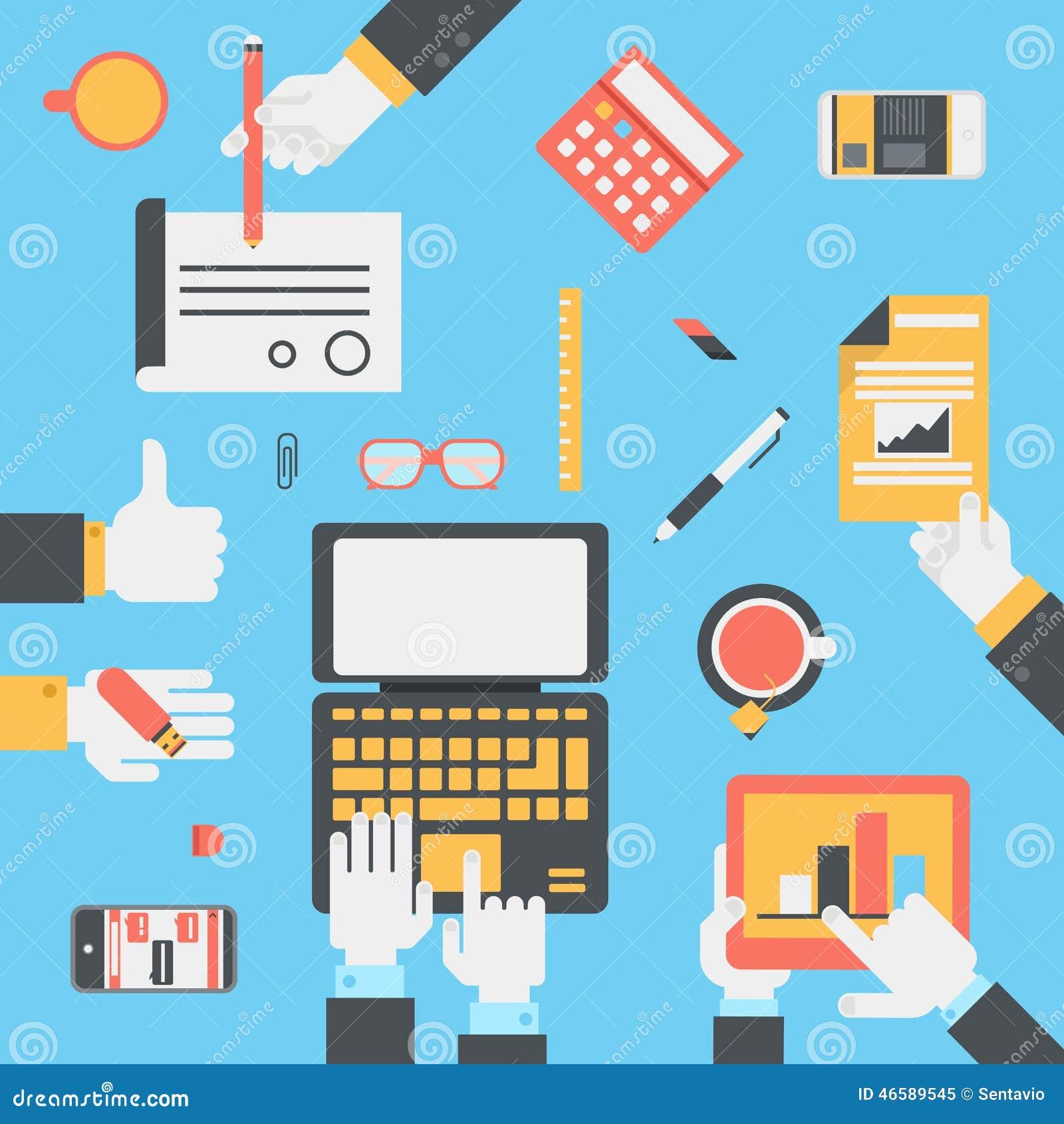 Technology Management Image: Flat Style Modern Business Technology Desktop Hands Icon
