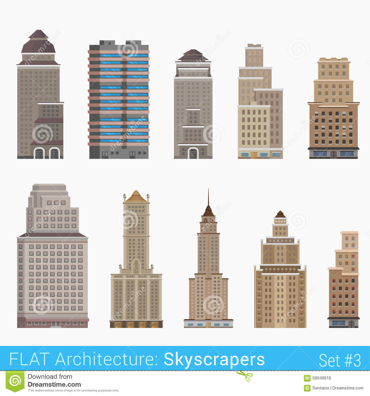 Flat style modern classic buildings skyscrapers set stock for Modern classic building design