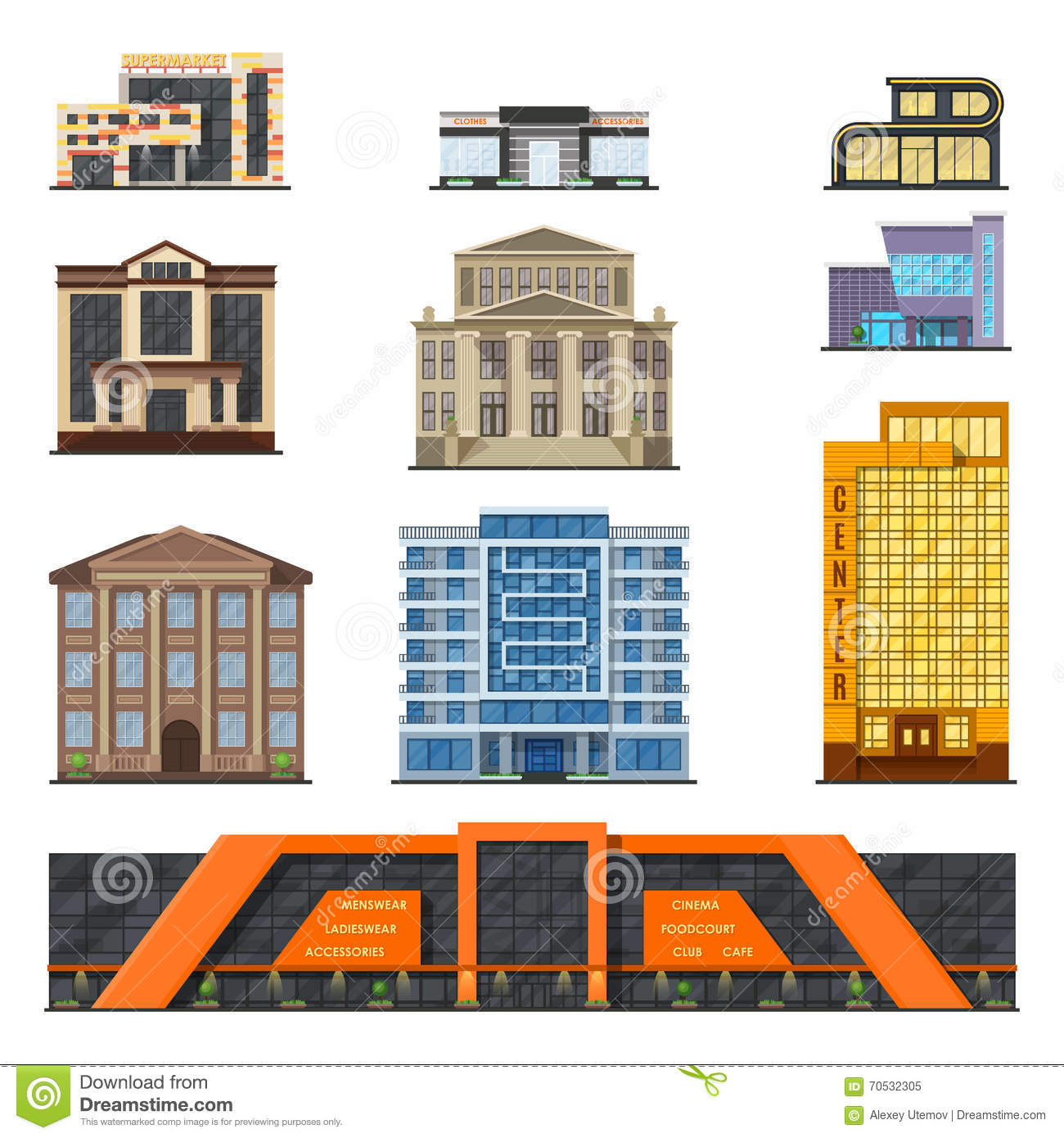 Flat style modern classic municipal buildings front for Classic house facade design