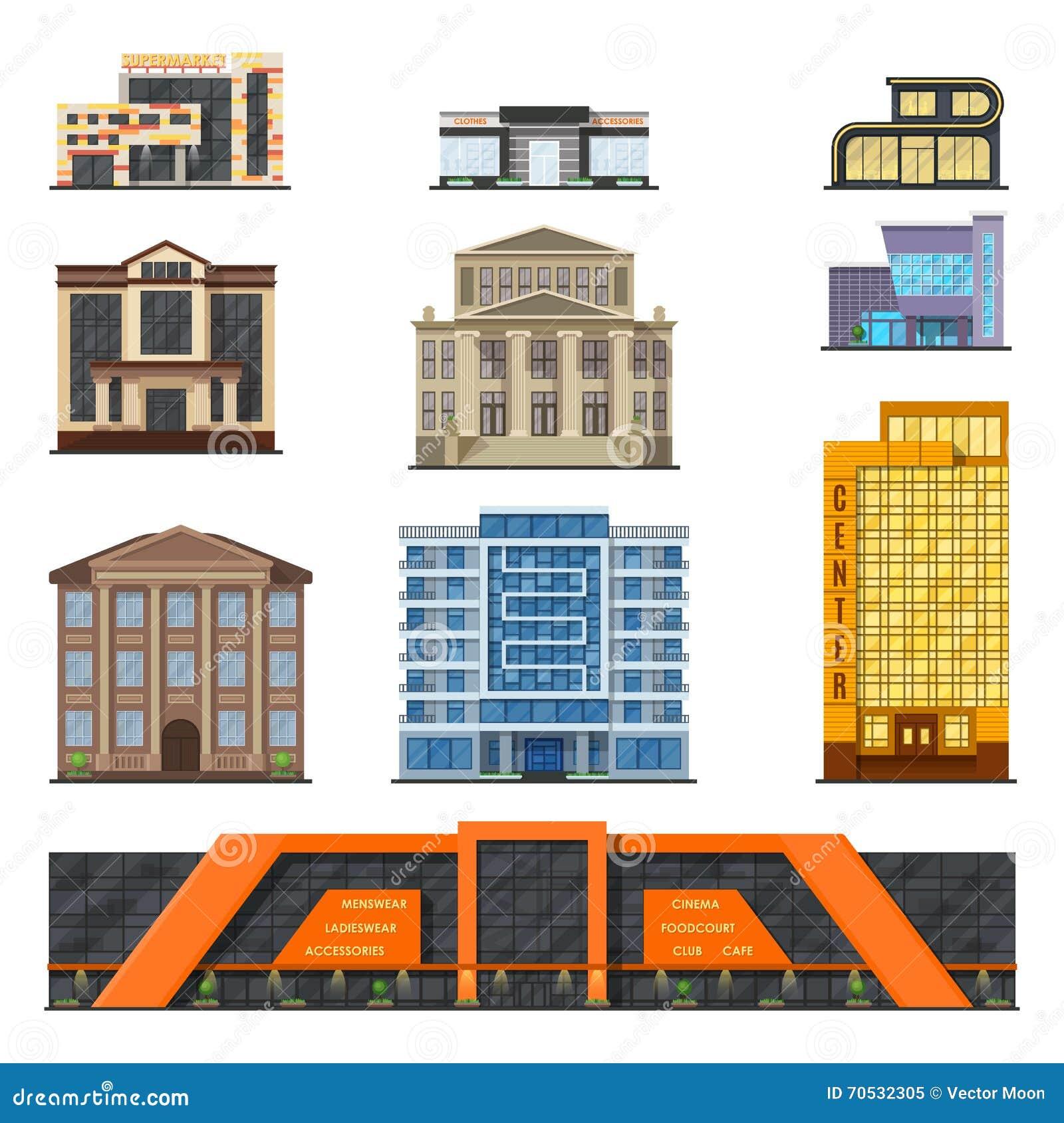 Flat style modern classic municipal buildings front for Modern classic building design