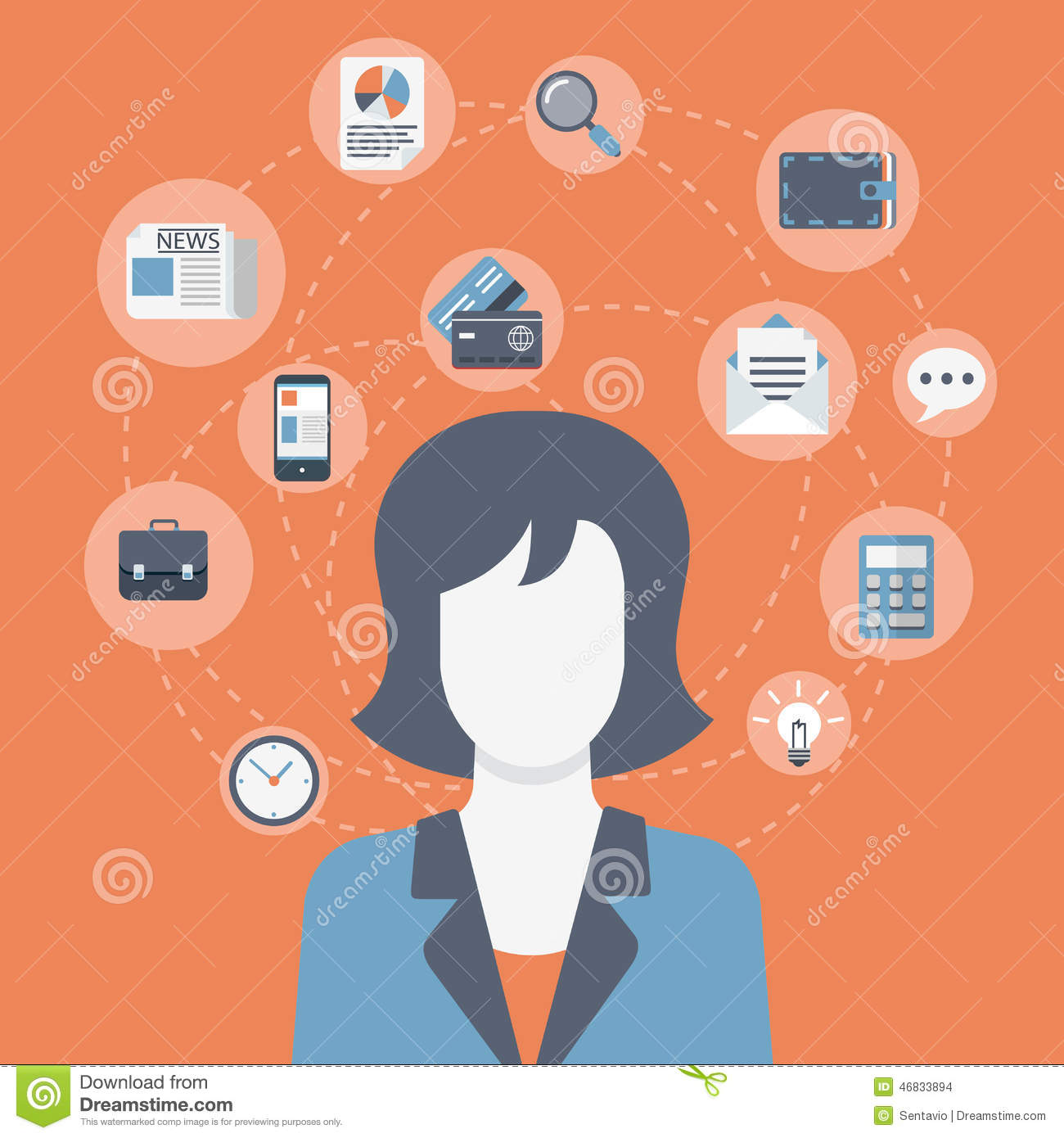 Flat Style Modern Web Businesswoman Infographic Icon
