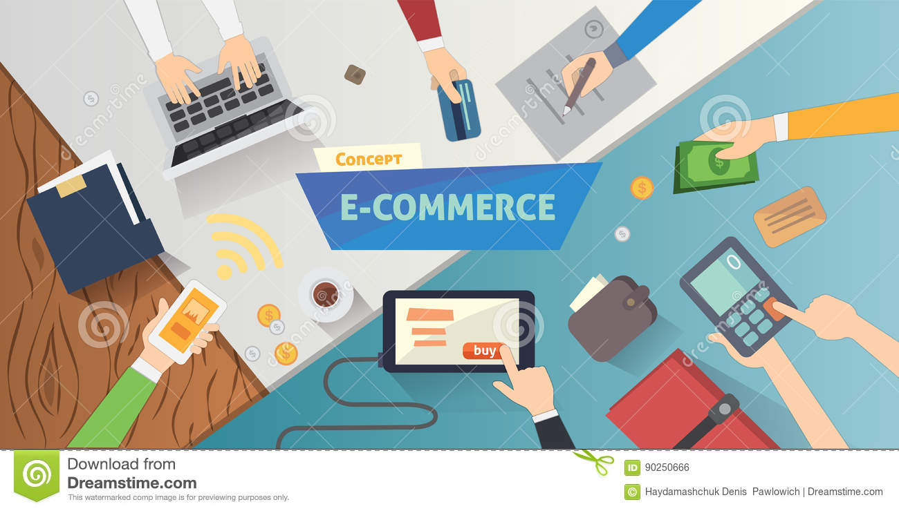 Flat style online e commerce icons mobile store banner for Design outlet online