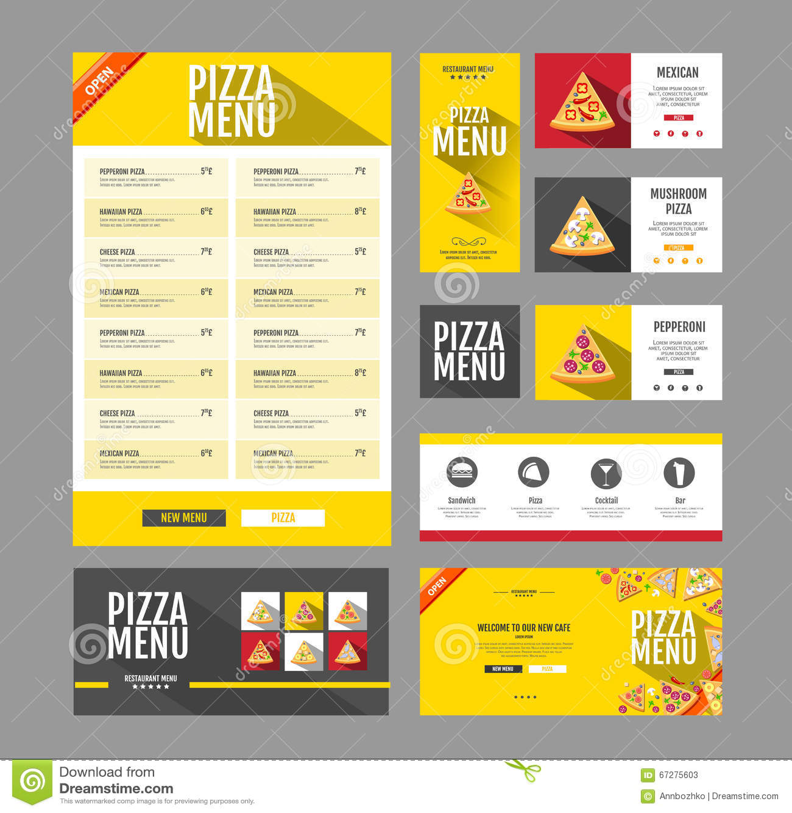 flat style pizza menu design  document template  stock