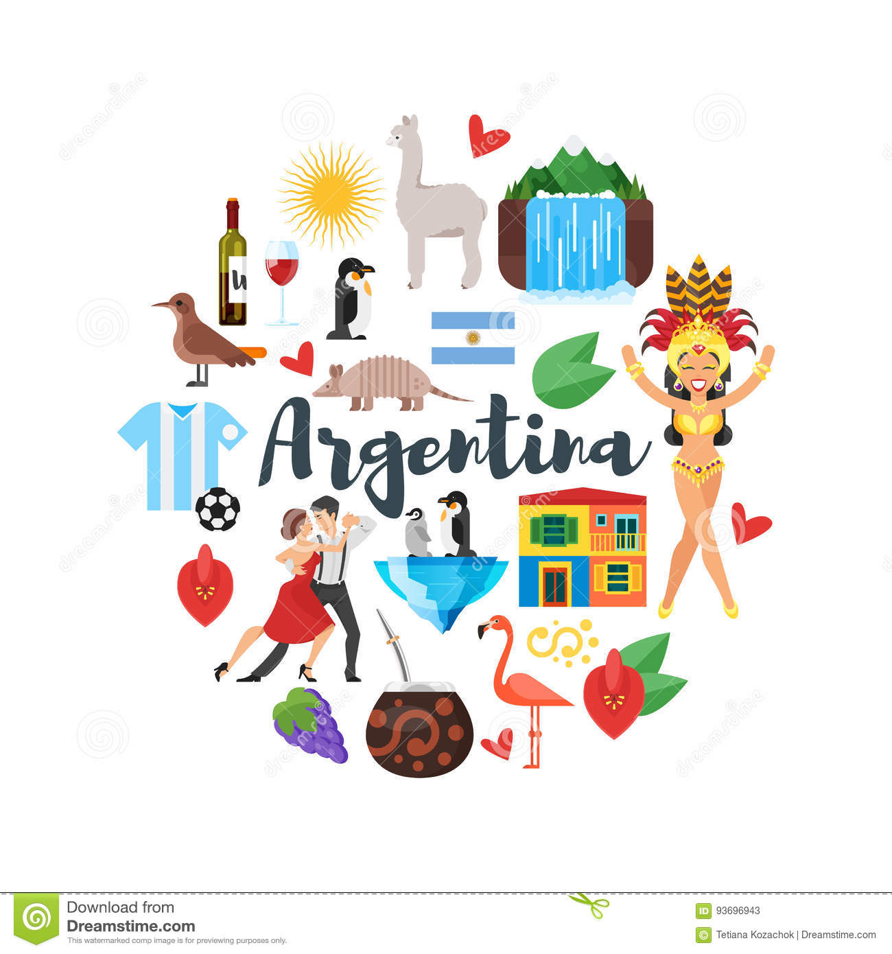 Flat style round composition of argentina national for Argentine cuisine culture