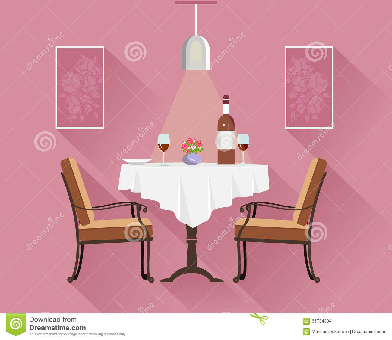 Restaurant table for two - Flat Style Round Restaurant Table For Two With White Cloth Wine Glasses Bottle Of Wine Plate And Vase Restaurant Table