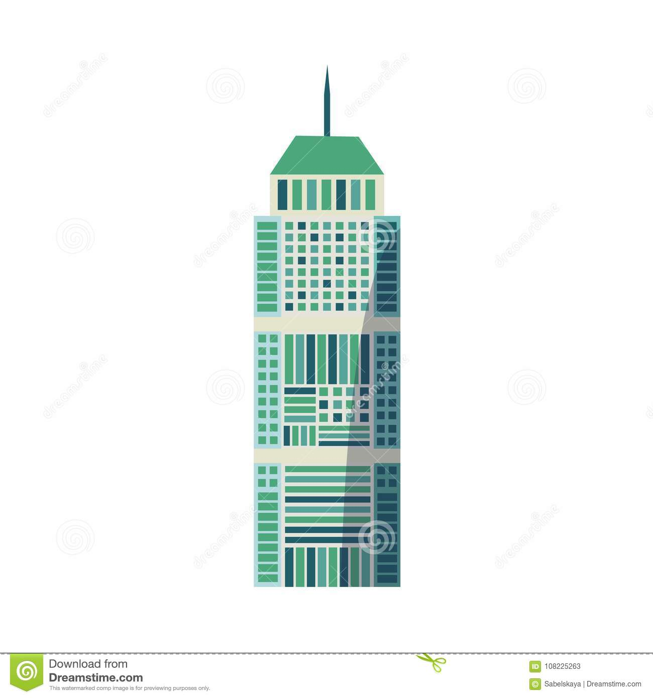 Flat skyscraper, business center with rounded roof