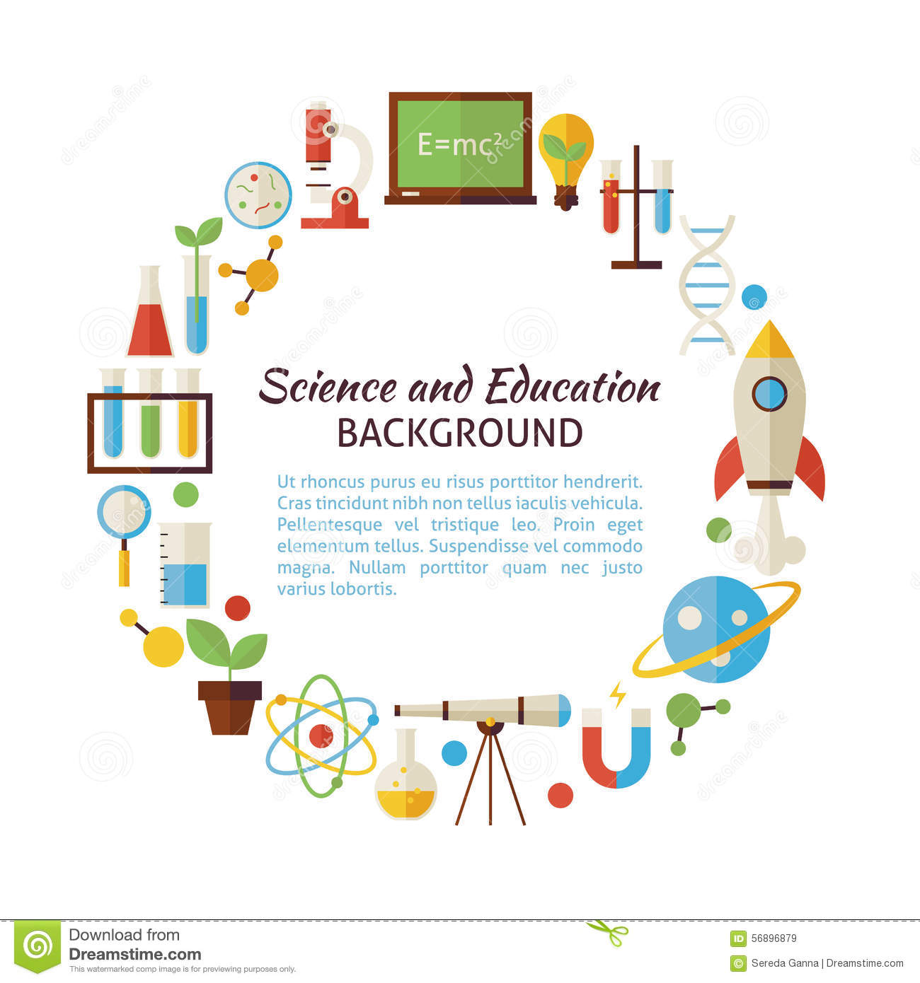 Flat Style Vector Circle Template Collection Of Science And Educ ...