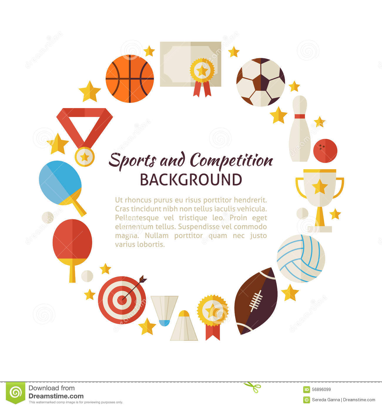 Flat Style Vector Circle Template Sport Recreation And