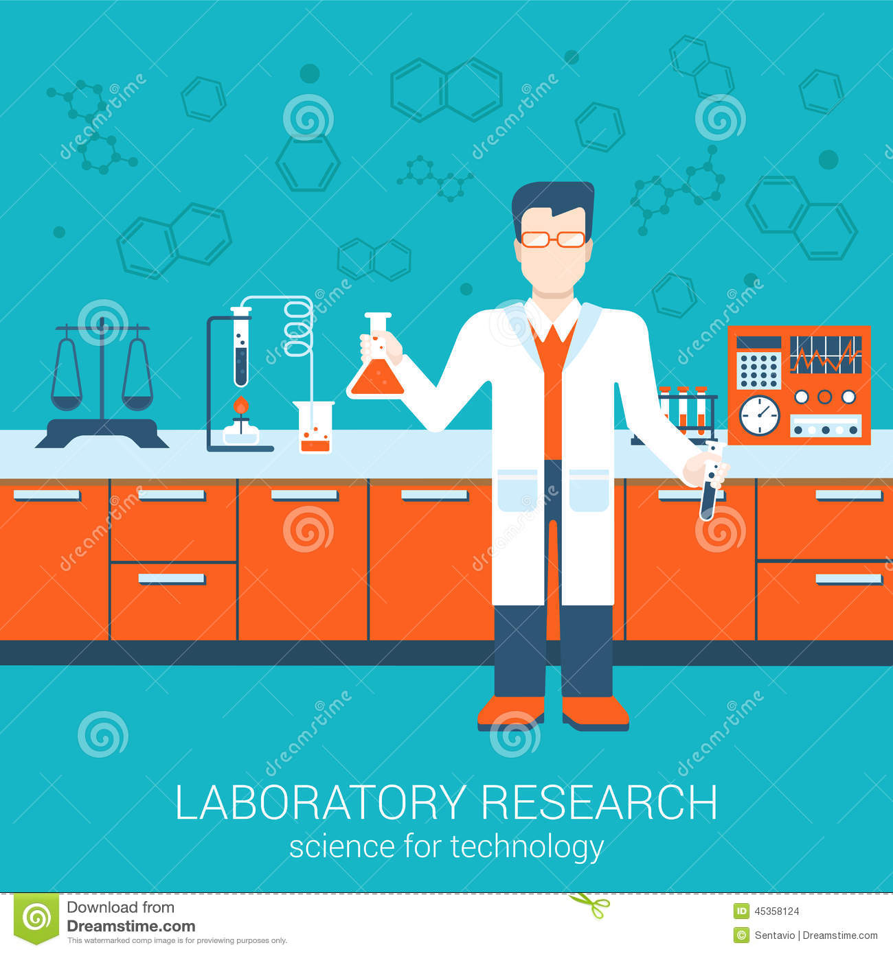 Science Technology: Flat Style Vector Illustration Laboratory Infographics