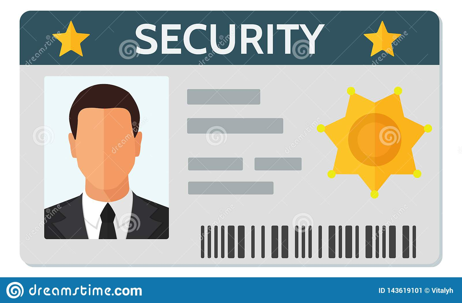 Flat Style Vector Illustration Of Security Staff Id Card Template Stock Vector Illustration Of Business Badge 143619101