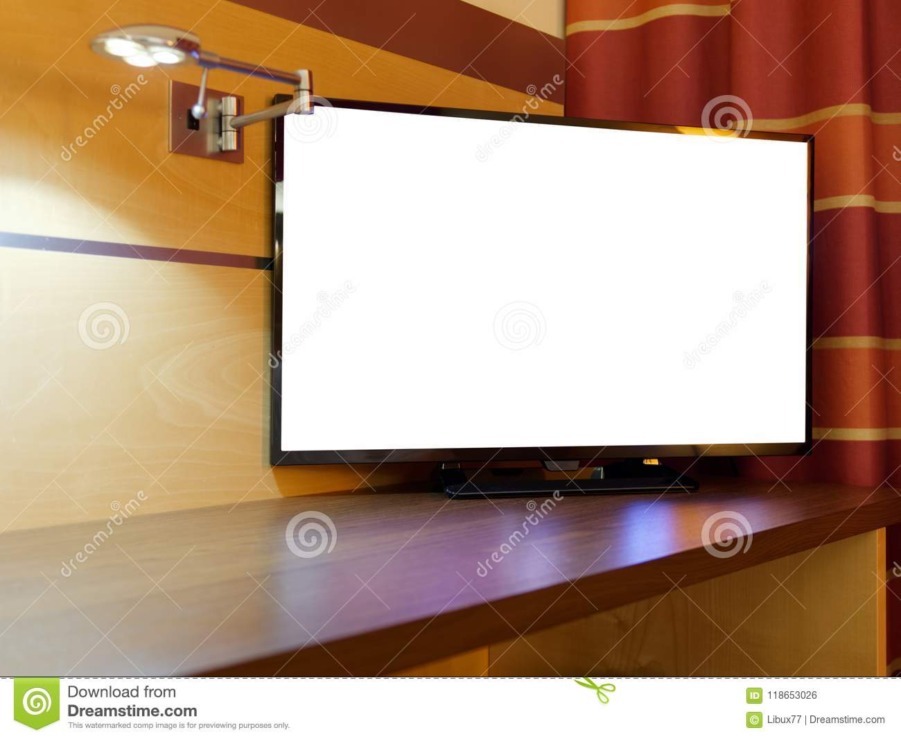 Flat Television or TV Blank Display night bedroom