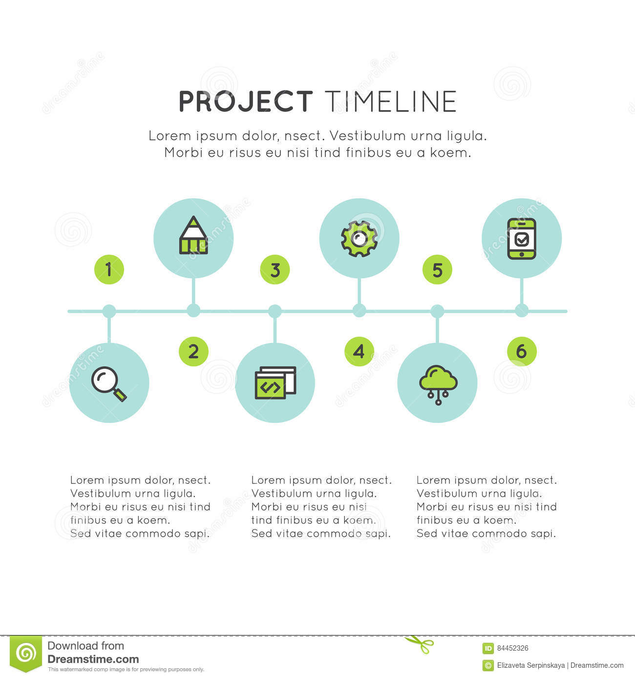 Flat Timeline Infographic Elements Template For Workflow Business