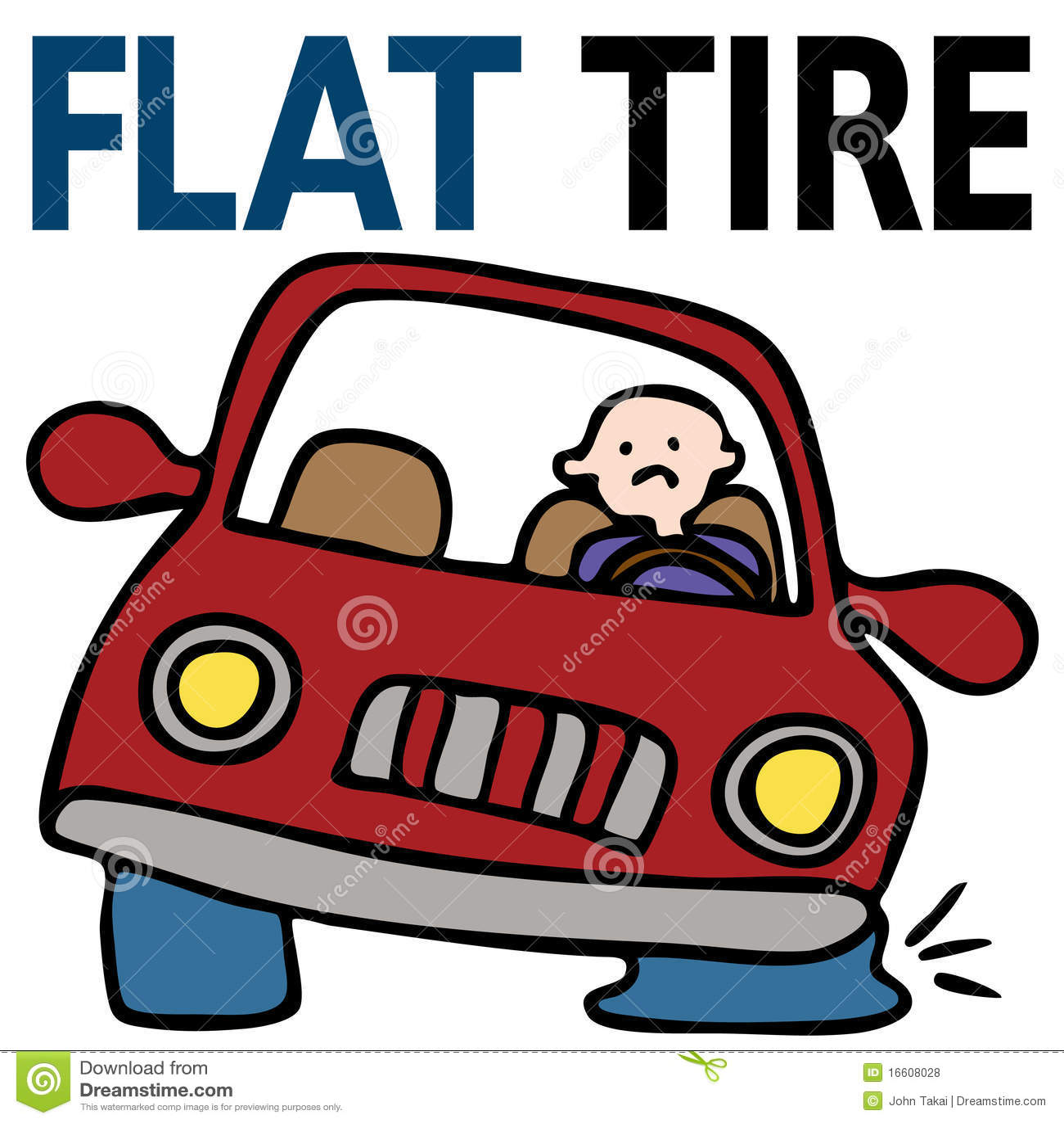 Flat Tire Stock Vector Illustration Of Auto Isolated