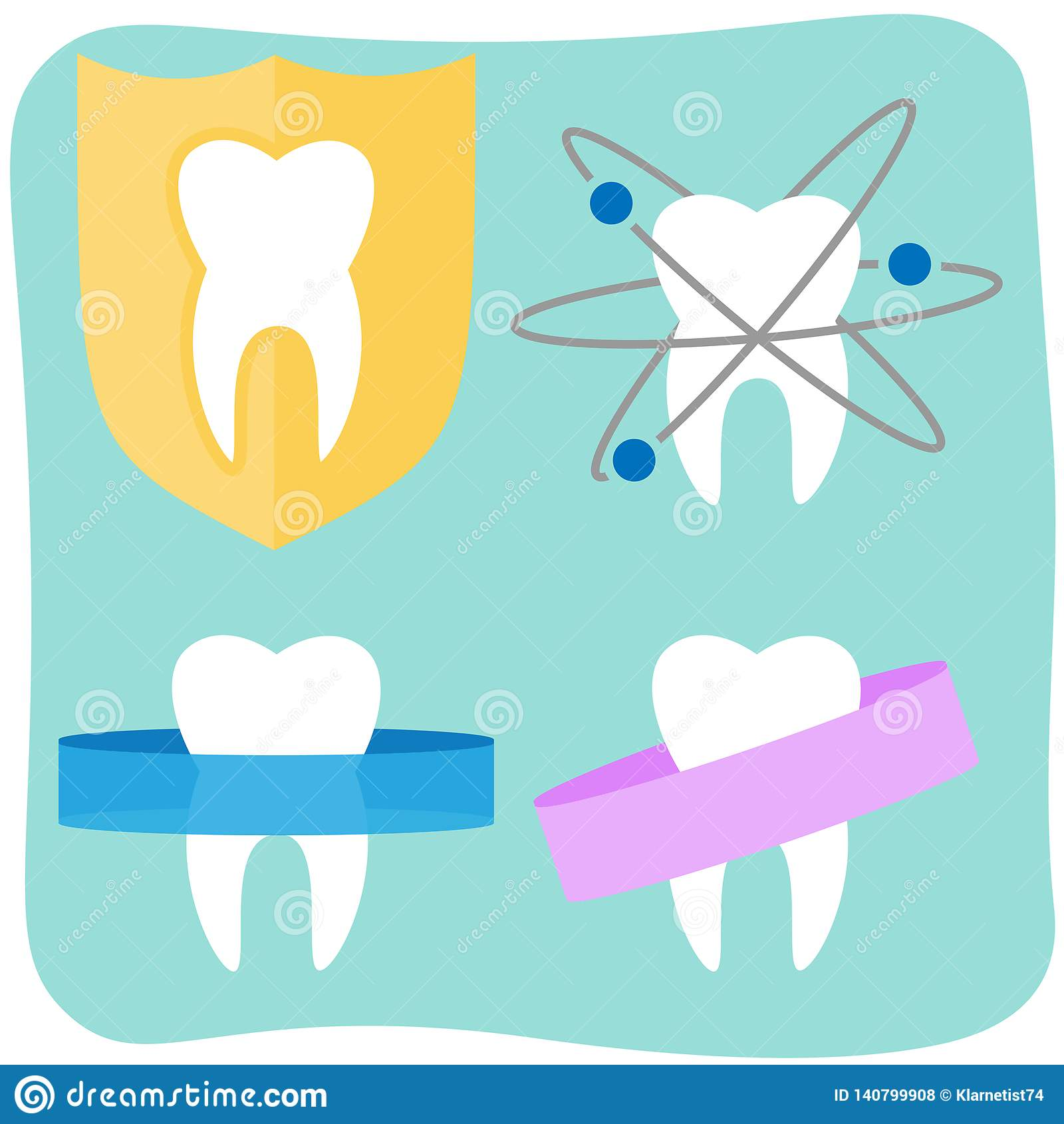 Flat tooth icons