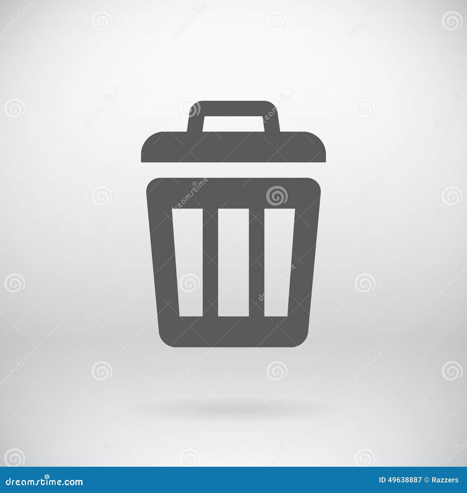 Flat Trash Can Sign Vector Delete Litter Bucket Stock Vector ...