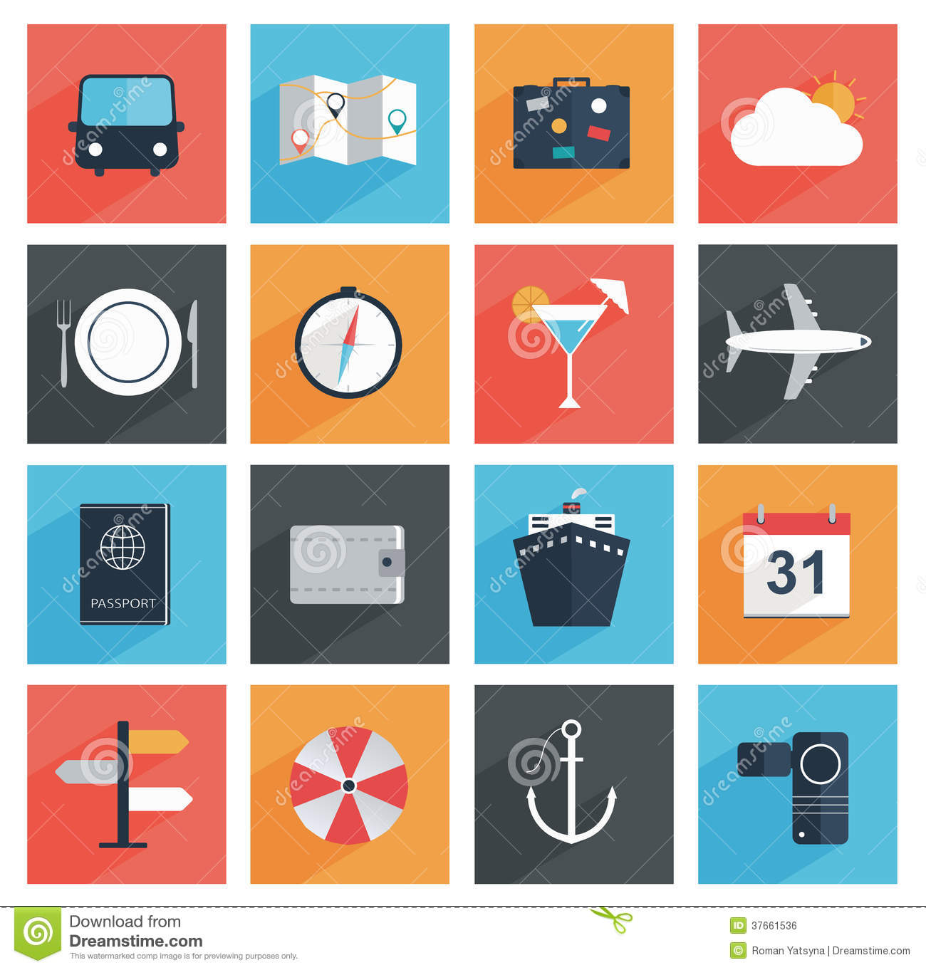 Flat Travel Icons With Long Shadow, Tourism And Va Royalty Free ...