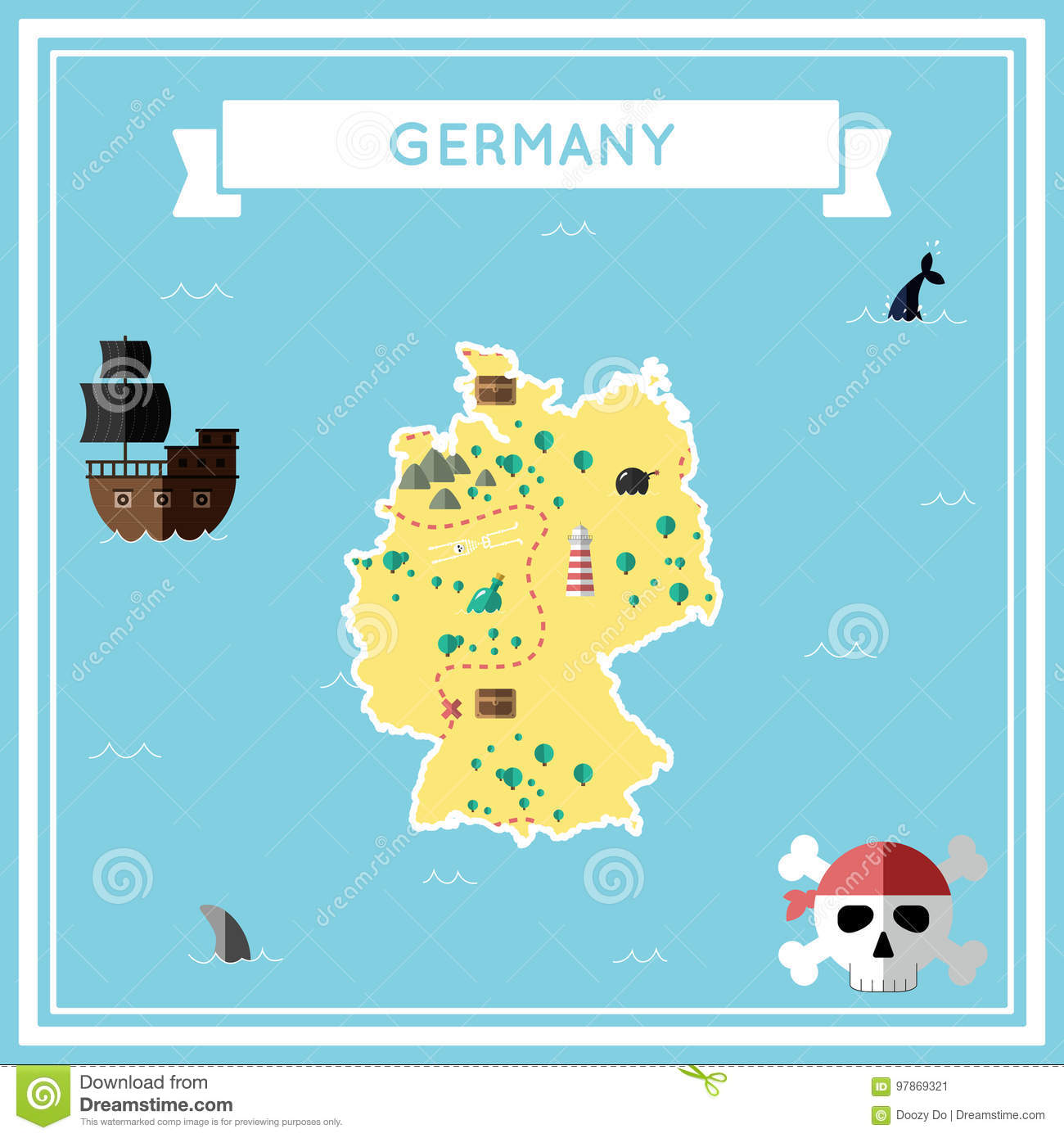 Cartoon Map Of Germany.Flat Treasure Map Of Germany Stock Vector Illustration Of